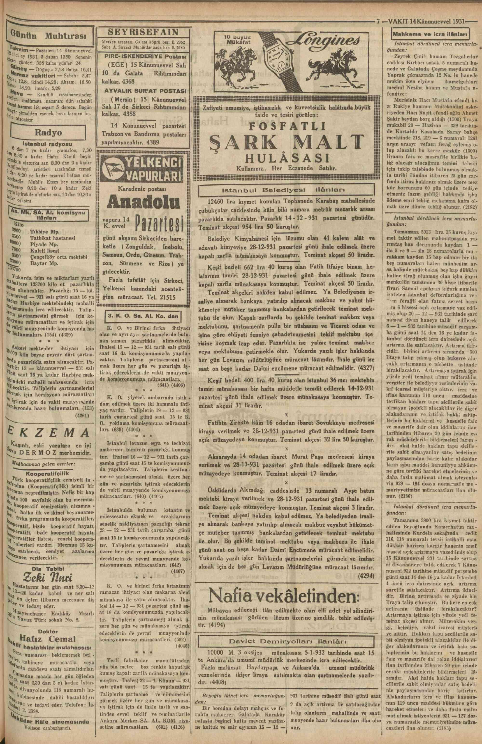 14 Aralık 1931 Tarihli Vakit Gazetesi Sayfa 7
