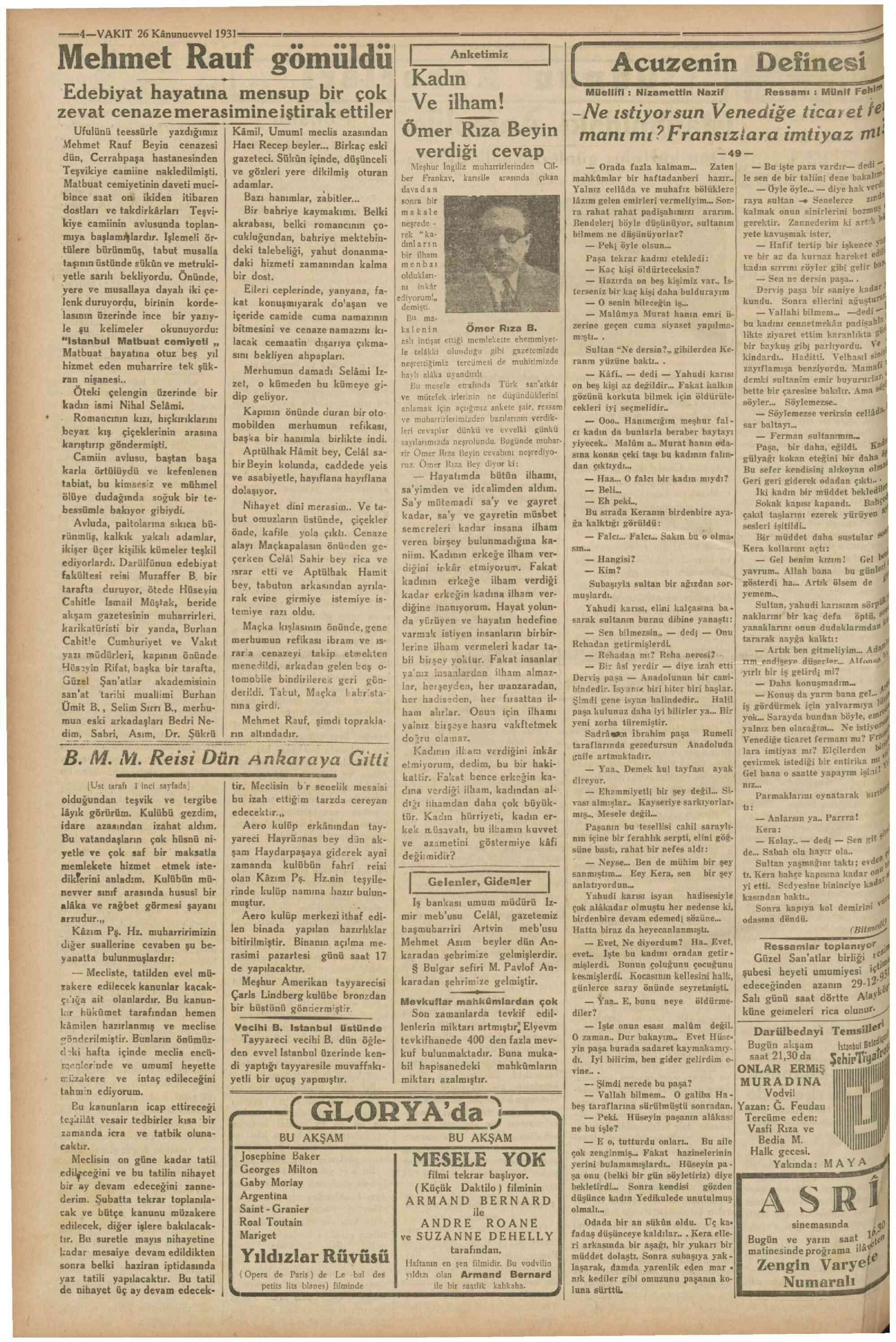 26 Aralık 1931 Tarihli Vakit Gazetesi Sayfa 4