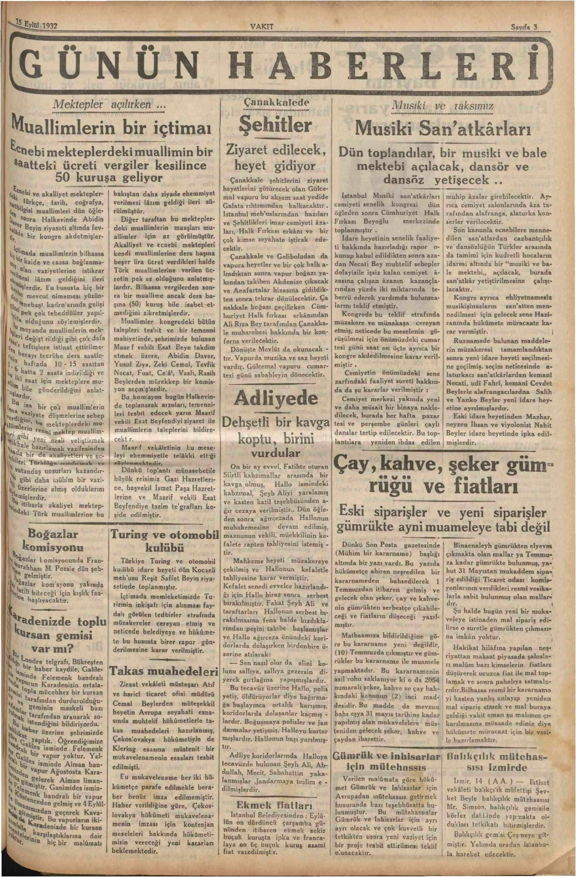 15 Eylül 1932 Tarihli Vakit Gazetesi Sayfa 1