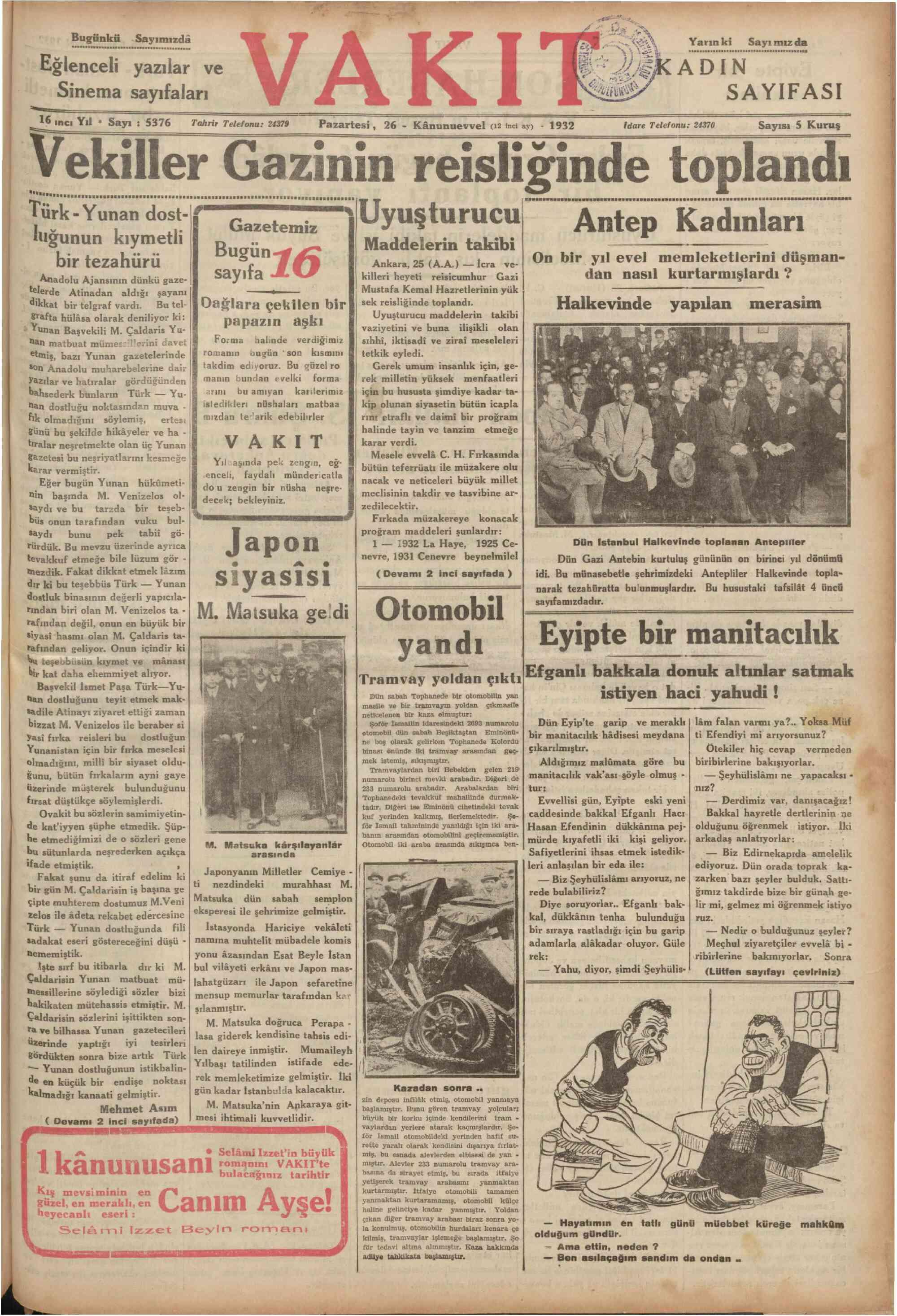 26 Aralık 1932 Tarihli Vakit Gazetesi Sayfa 1