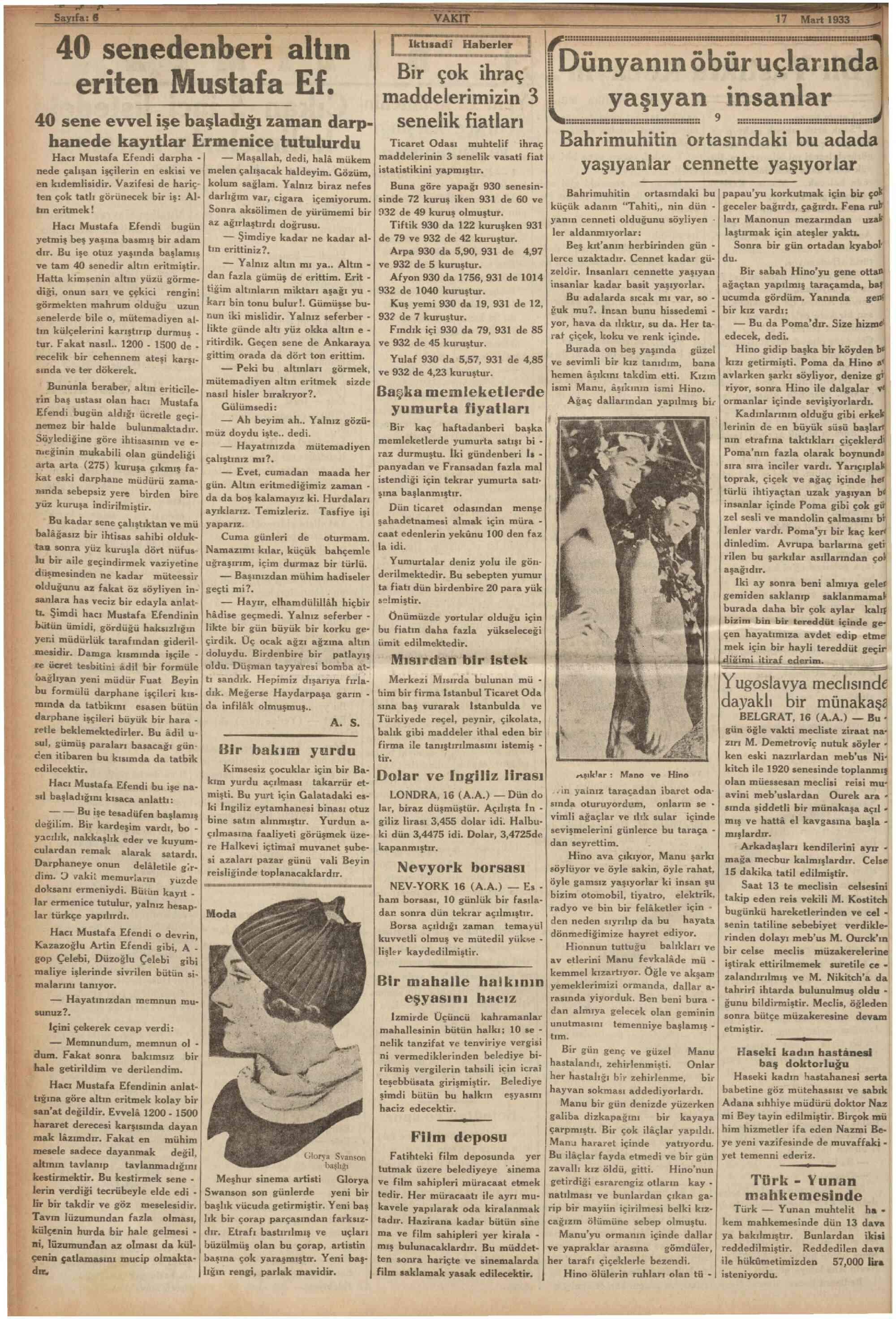 17 Mart 1933 Tarihli Vakit Gazetesi Sayfa 6
