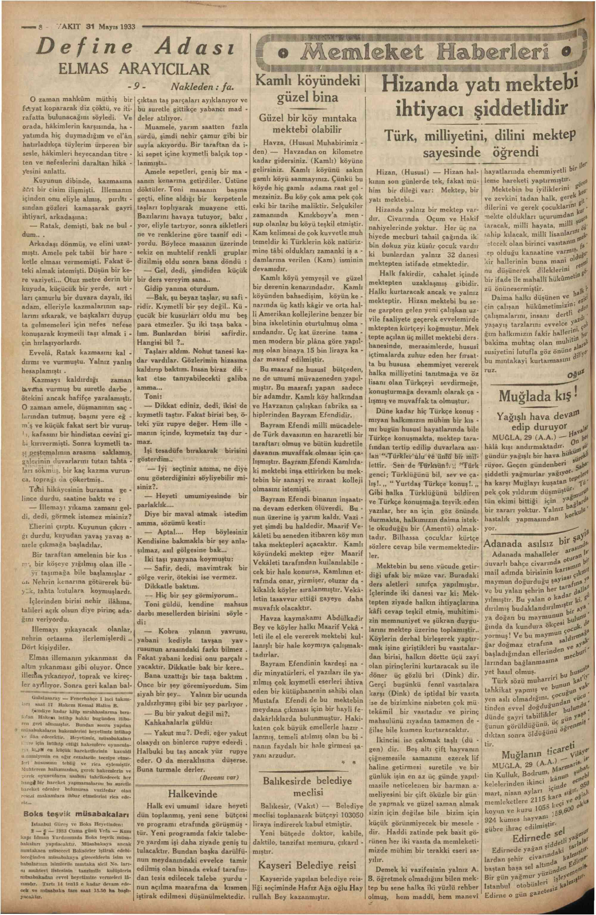 31 Mayıs 1933 Tarihli Vakit Dergisi Sayfa 8