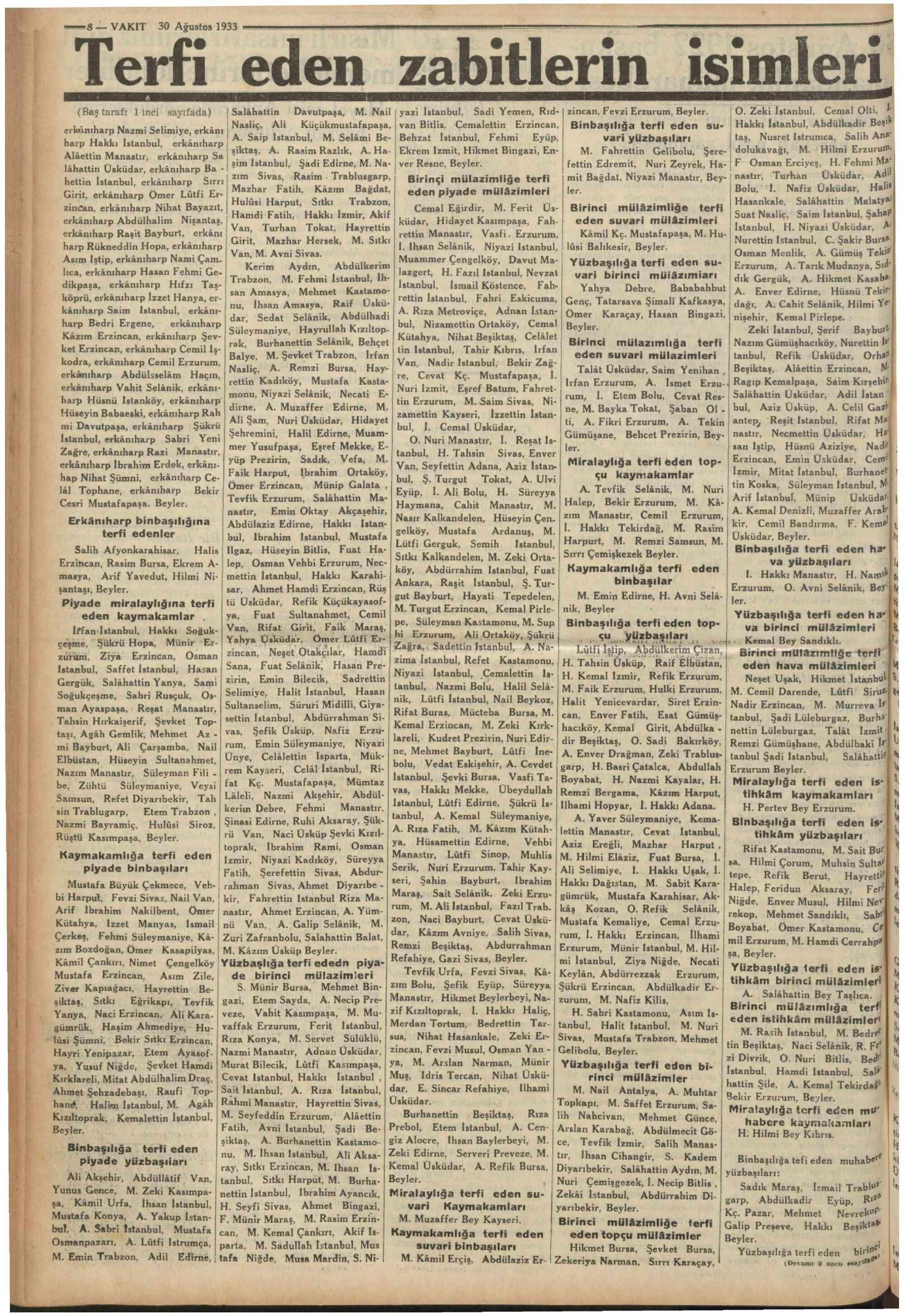 30 Ağustos 1933 Tarihli Vakit Gazetesi Sayfa 8