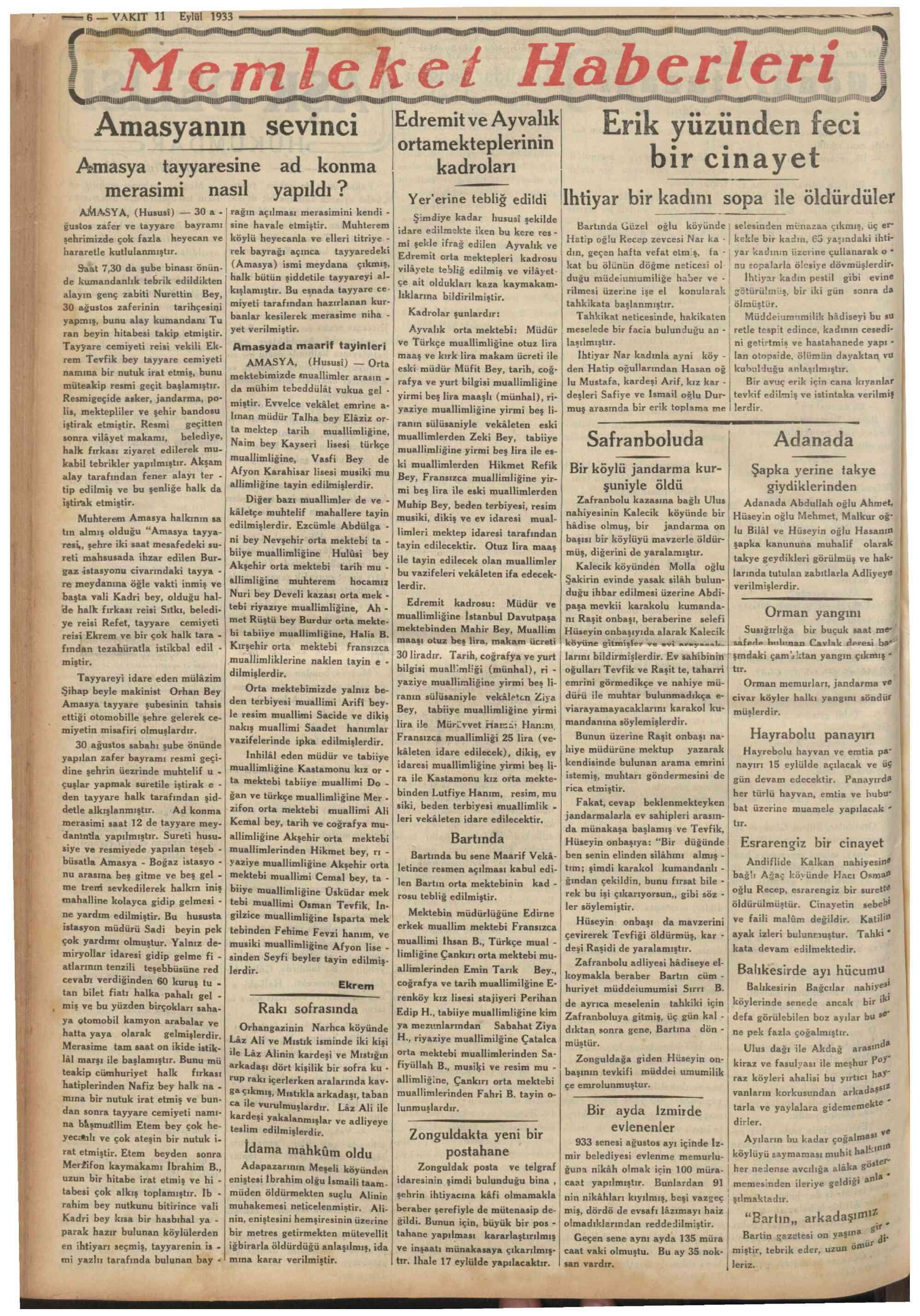 11 Eylül 1933 Tarihli Vakit Dergisi Sayfa 6