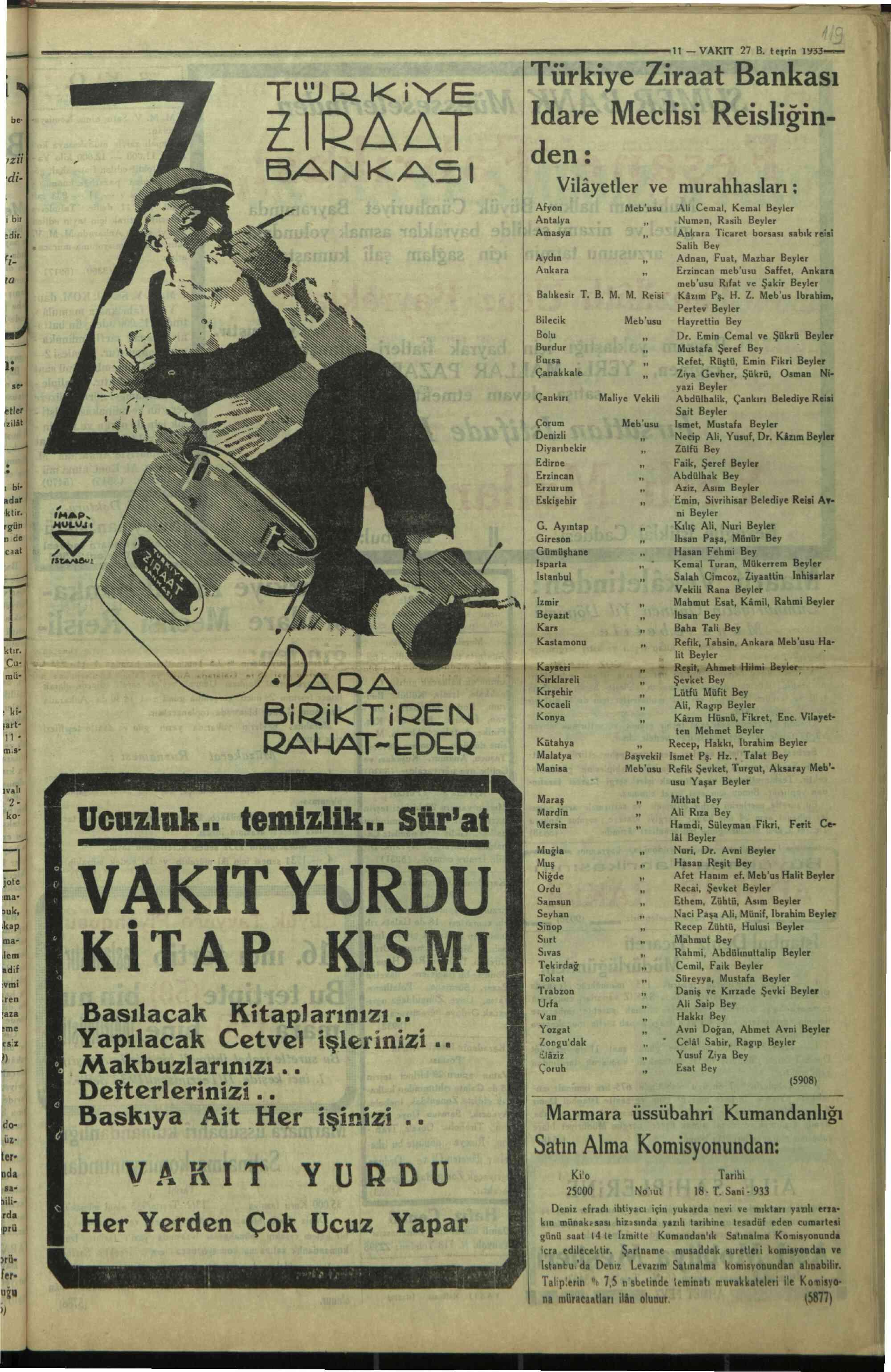 27 Ekim 1933 Tarihli Vakit Gazetesi Sayfa 11