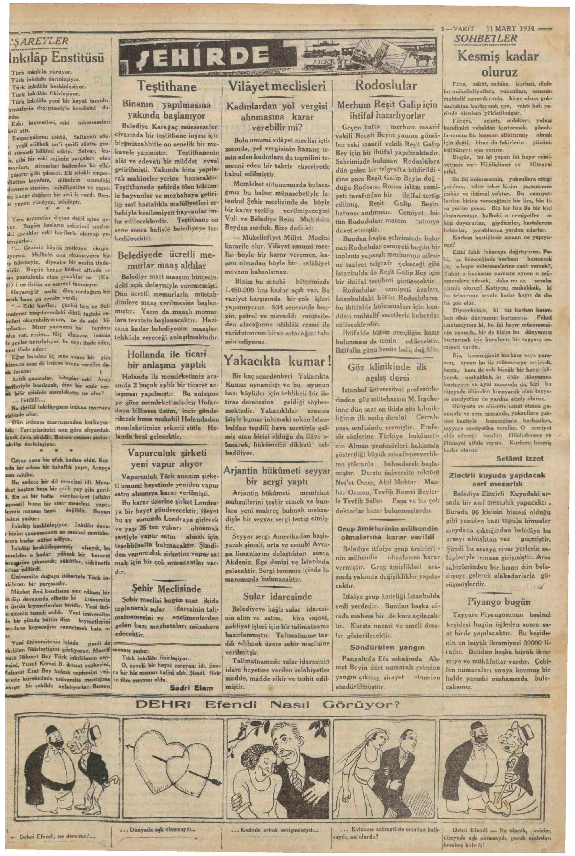 11 Mart 1934 Tarihli Vakit Gazetesi Sayfa 3