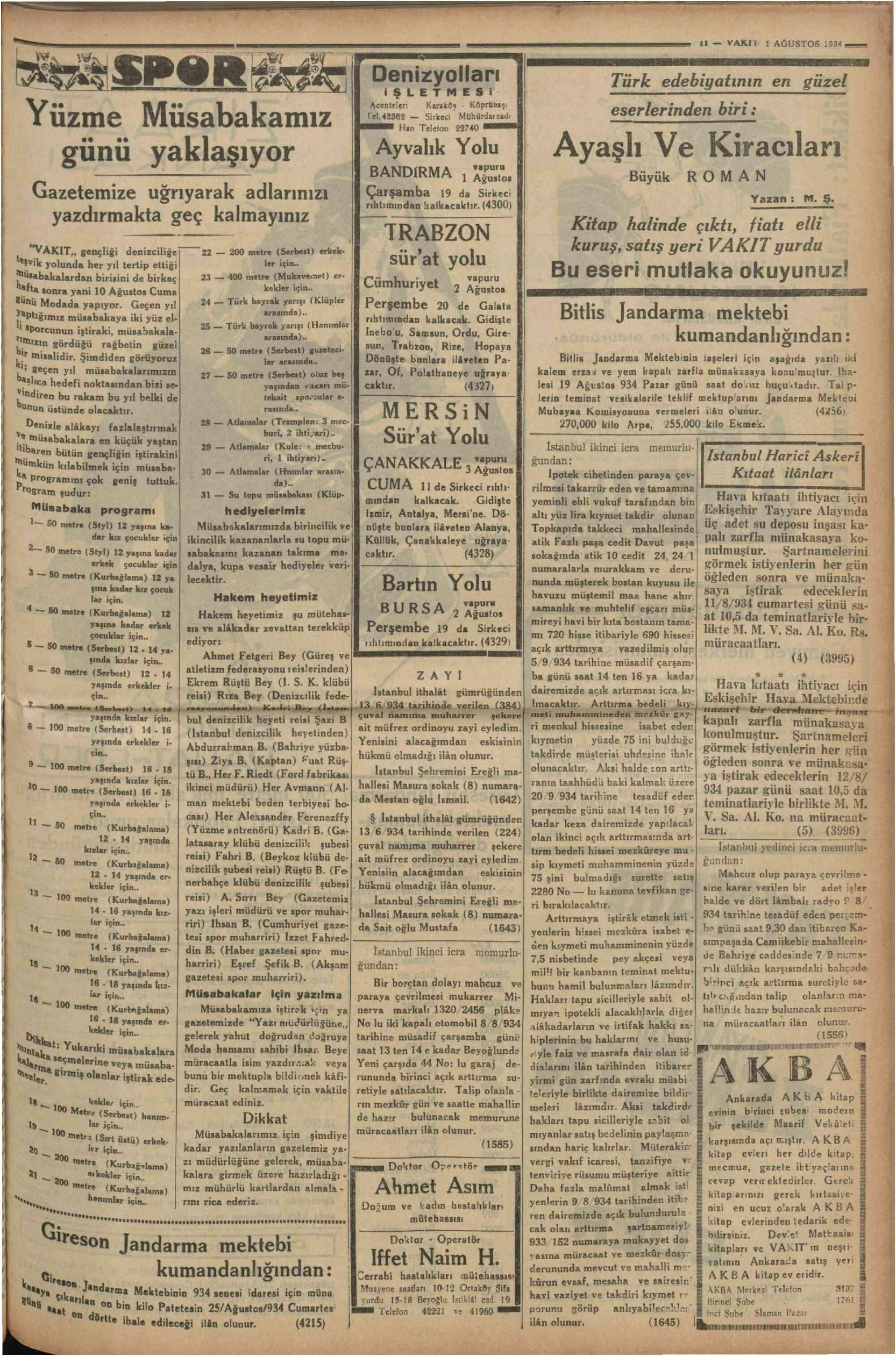 1 Ağustos 1934 Tarihli Vakit Dergisi Sayfa 11