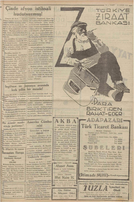 23 Eylül 1934 Tarihli Vakit Dergisi Sayfa 11