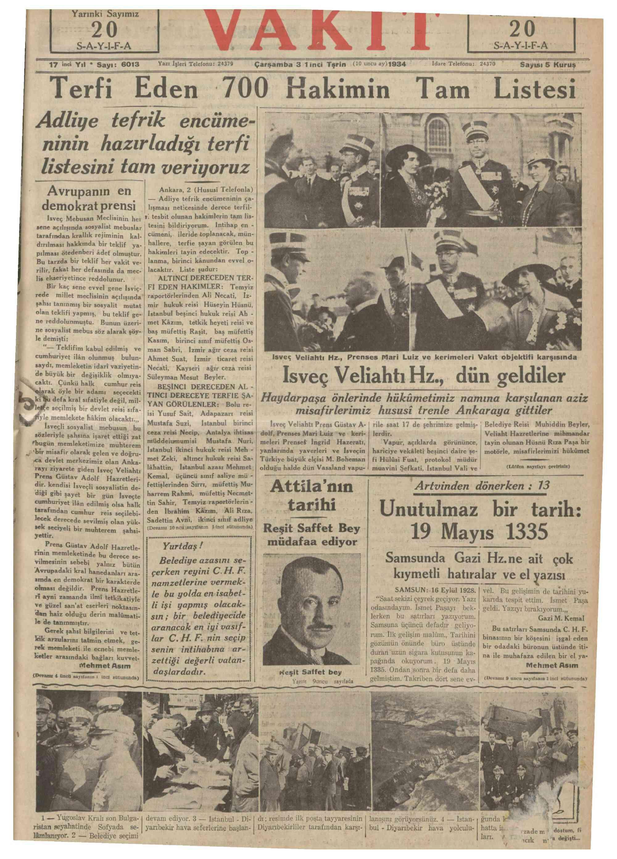 3 Ekim 1934 Tarihli Vakit Dergisi Sayfa 1