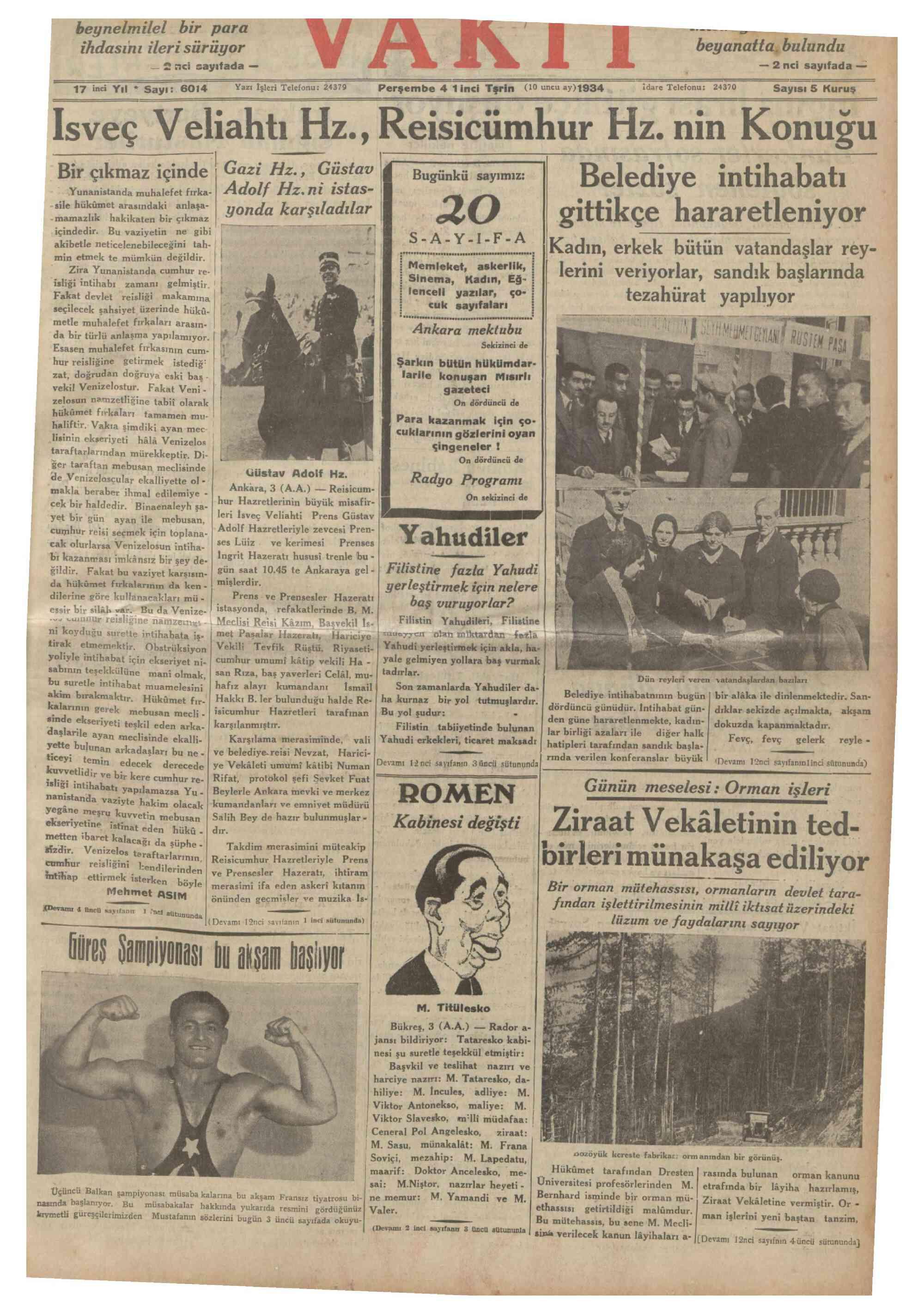 4 Ekim 1934 Tarihli Vakit Dergisi Sayfa 1