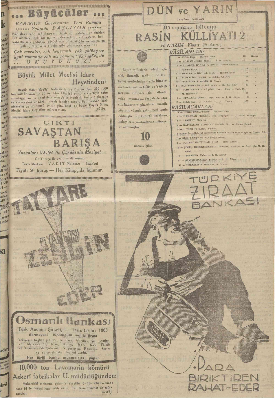 4 Ekim 1934 Tarihli Vakit Gazetesi Sayfa 19