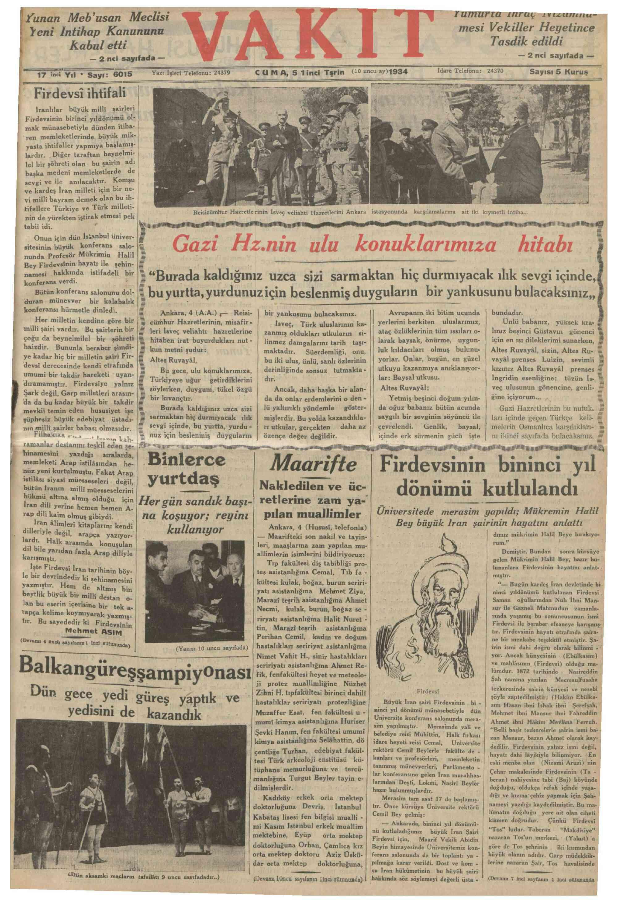 5 Ekim 1934 Tarihli Vakit Dergisi Sayfa 1