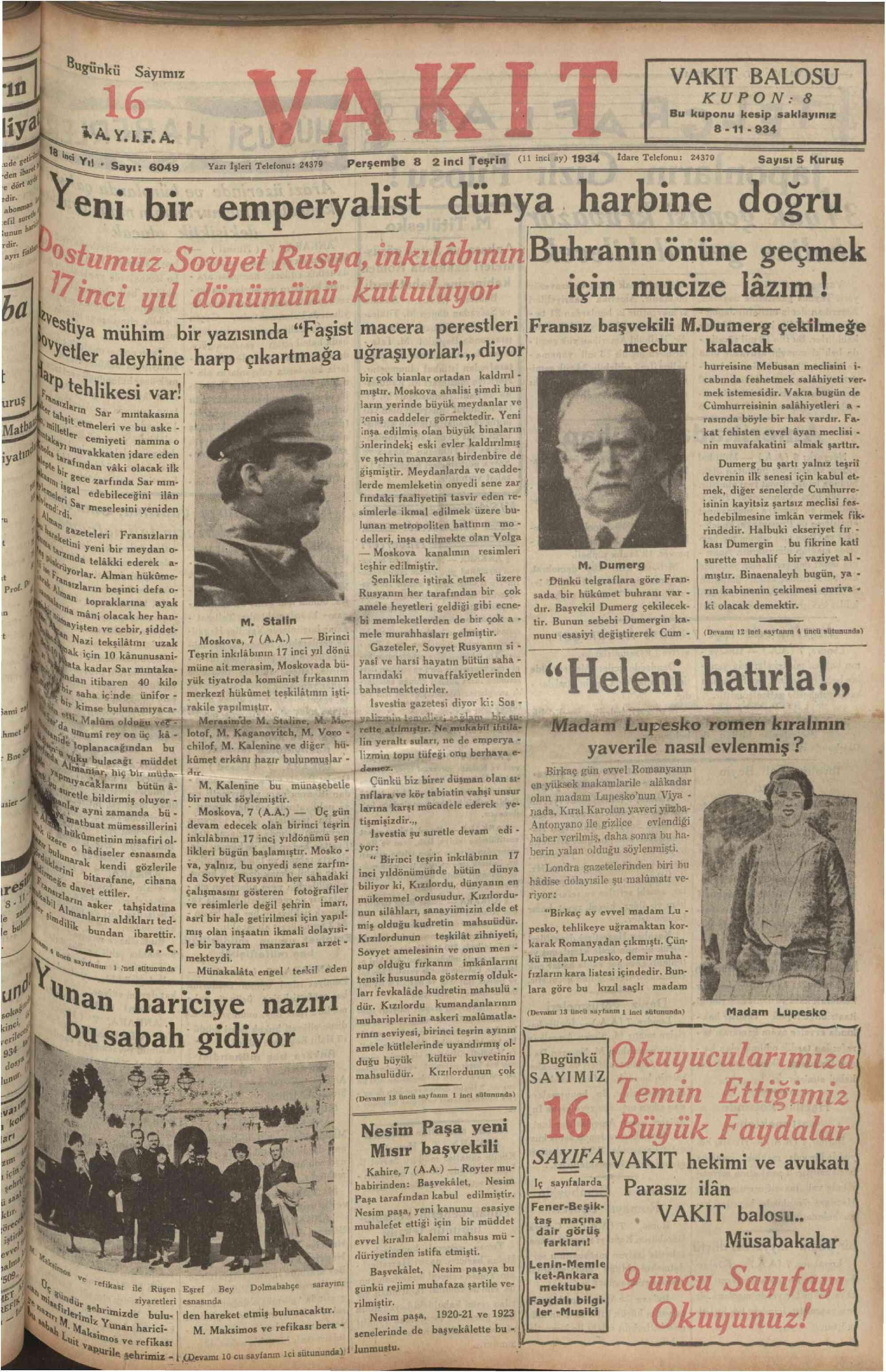 8 Kasım 1934 Tarihli Vakit Dergisi Sayfa 1