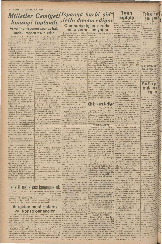 17 Ocak 1939 Tarihli Vakit Gazetesi Sayfa 8