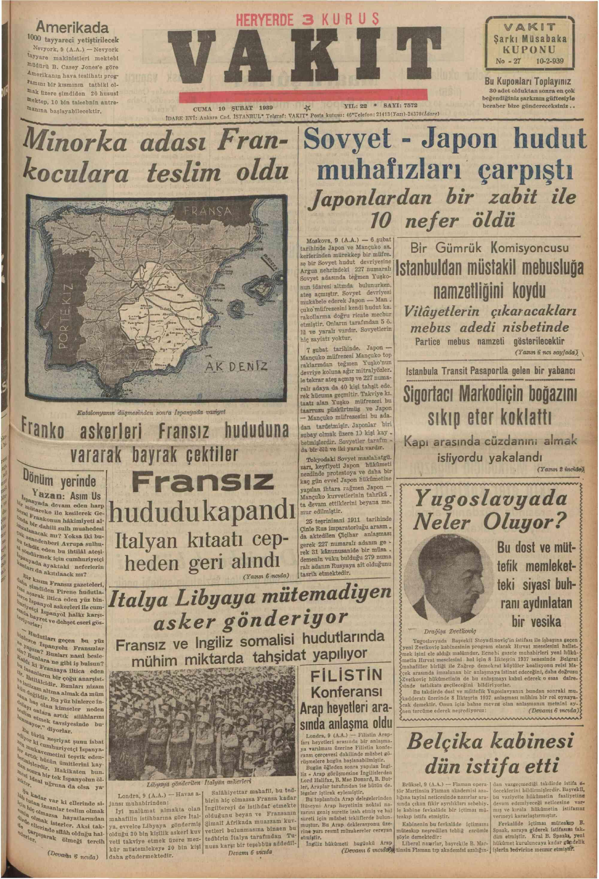 10 Şubat 1939 Tarihli Vakit Gazetesi Sayfa 1
