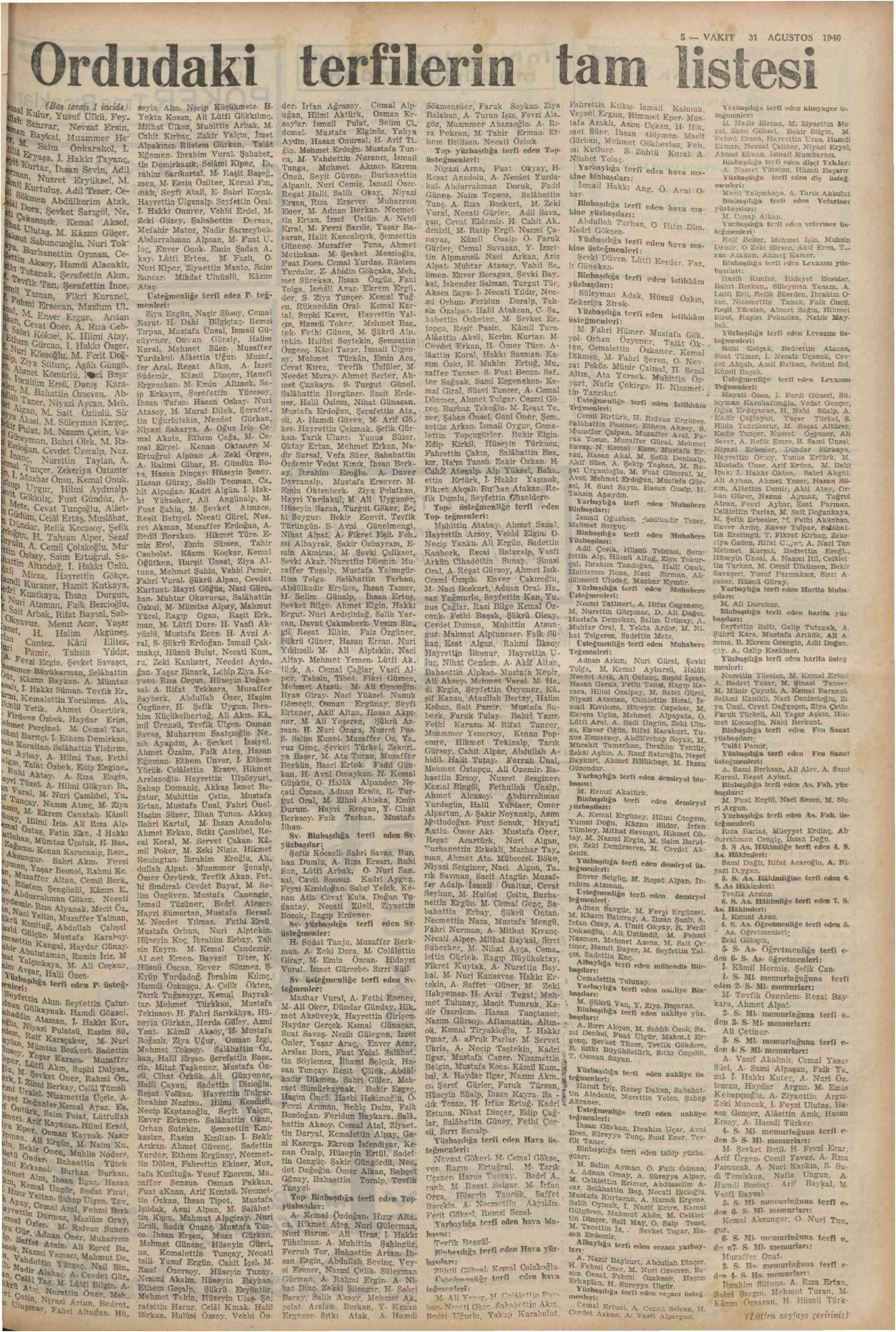 August 31, 1940 Tarihli Vakit Dergisi Sayfa 5