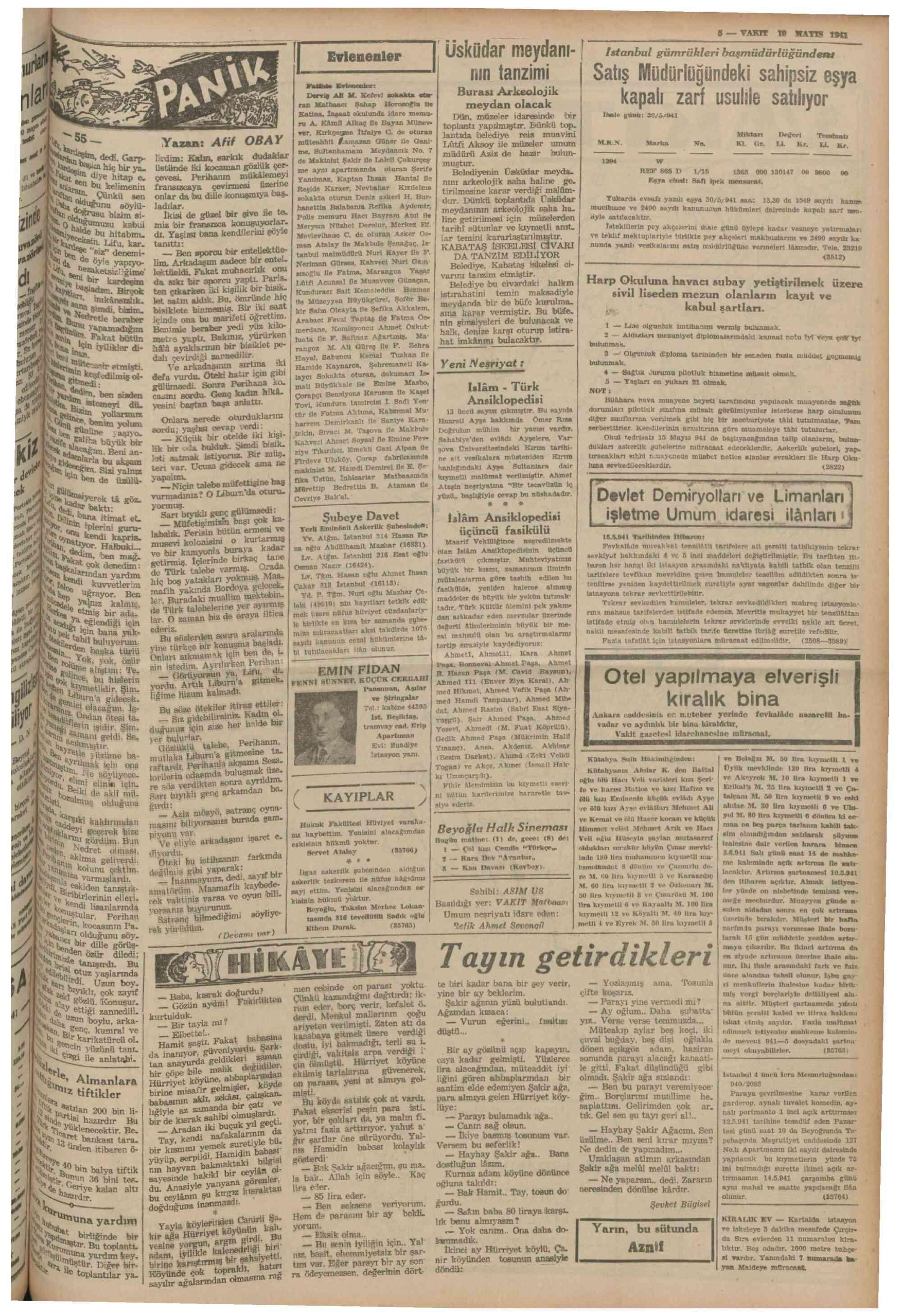 10 Mayıs 1941 Tarihli Vakit Dergisi Sayfa 5