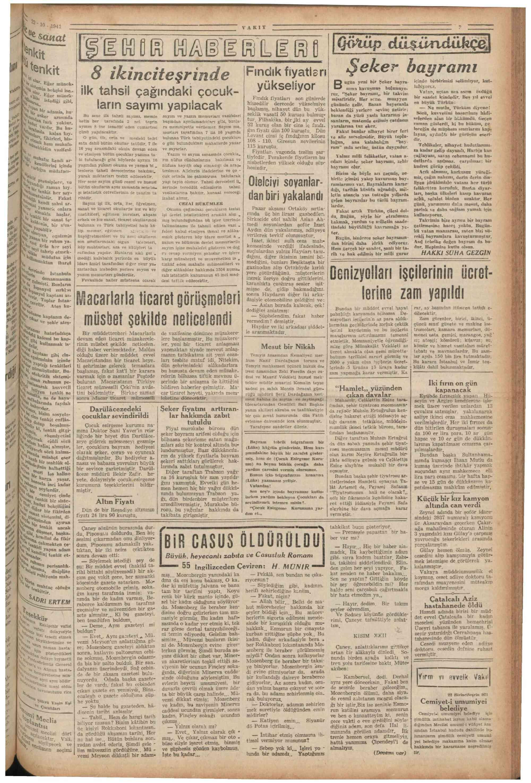 22 Ekim 1941 tarihli Vakit Gazetesi Sayfa 3