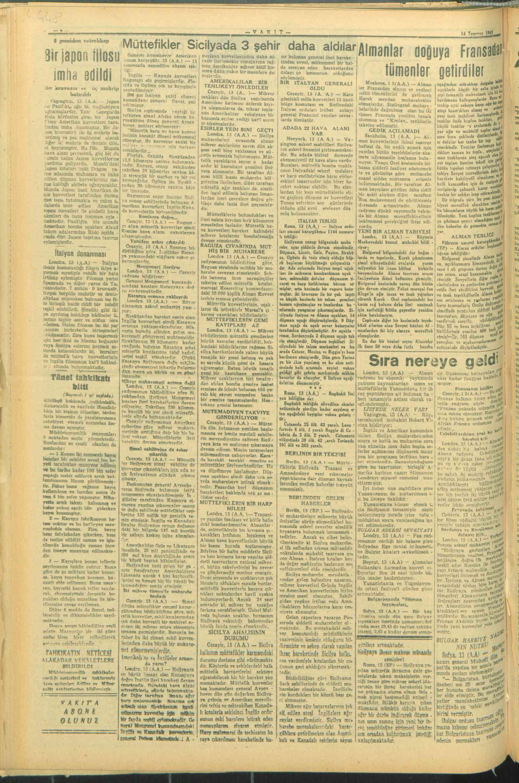 14 Temmuz 1943 Tarihli Vakit Gazetesi Sayfa 4