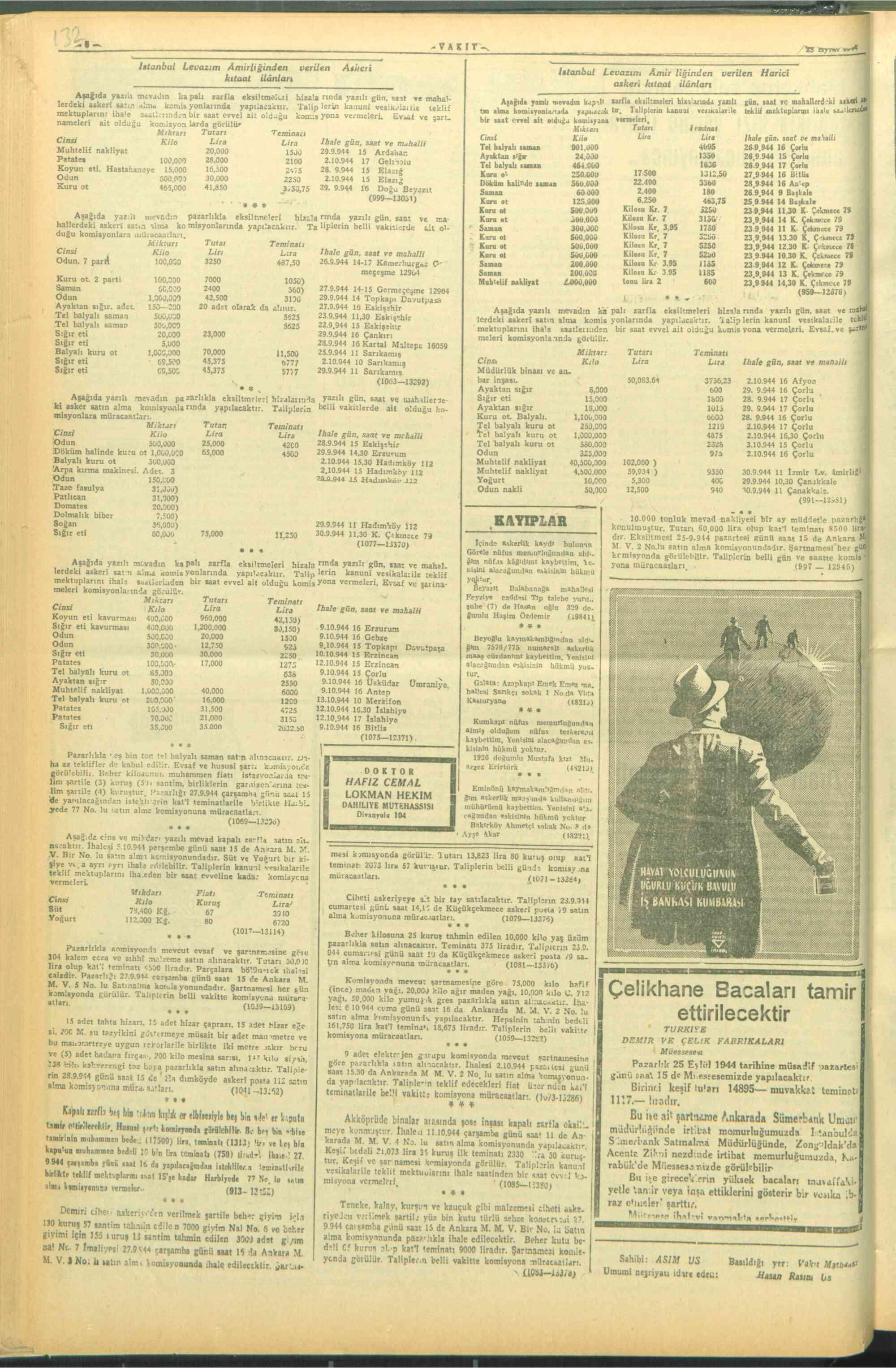 23 Eylül 1944 Tarihli Vakit Dergisi Sayfa 6