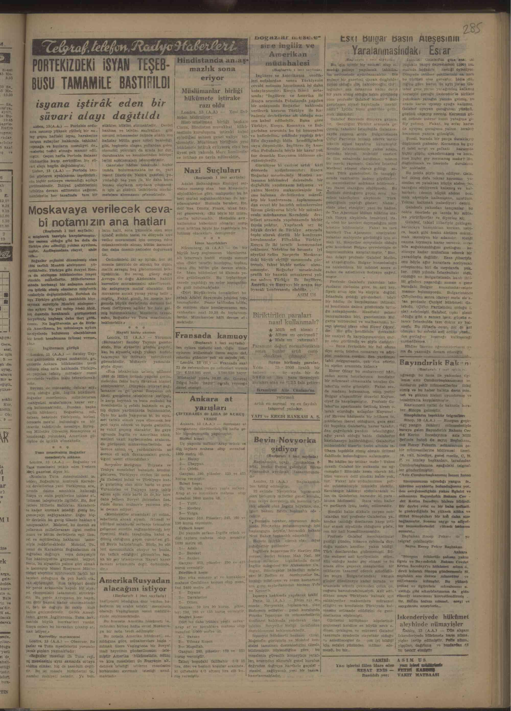 14 Ekim 1946 Tarihli Vakit Gazetesi Sayfa 5