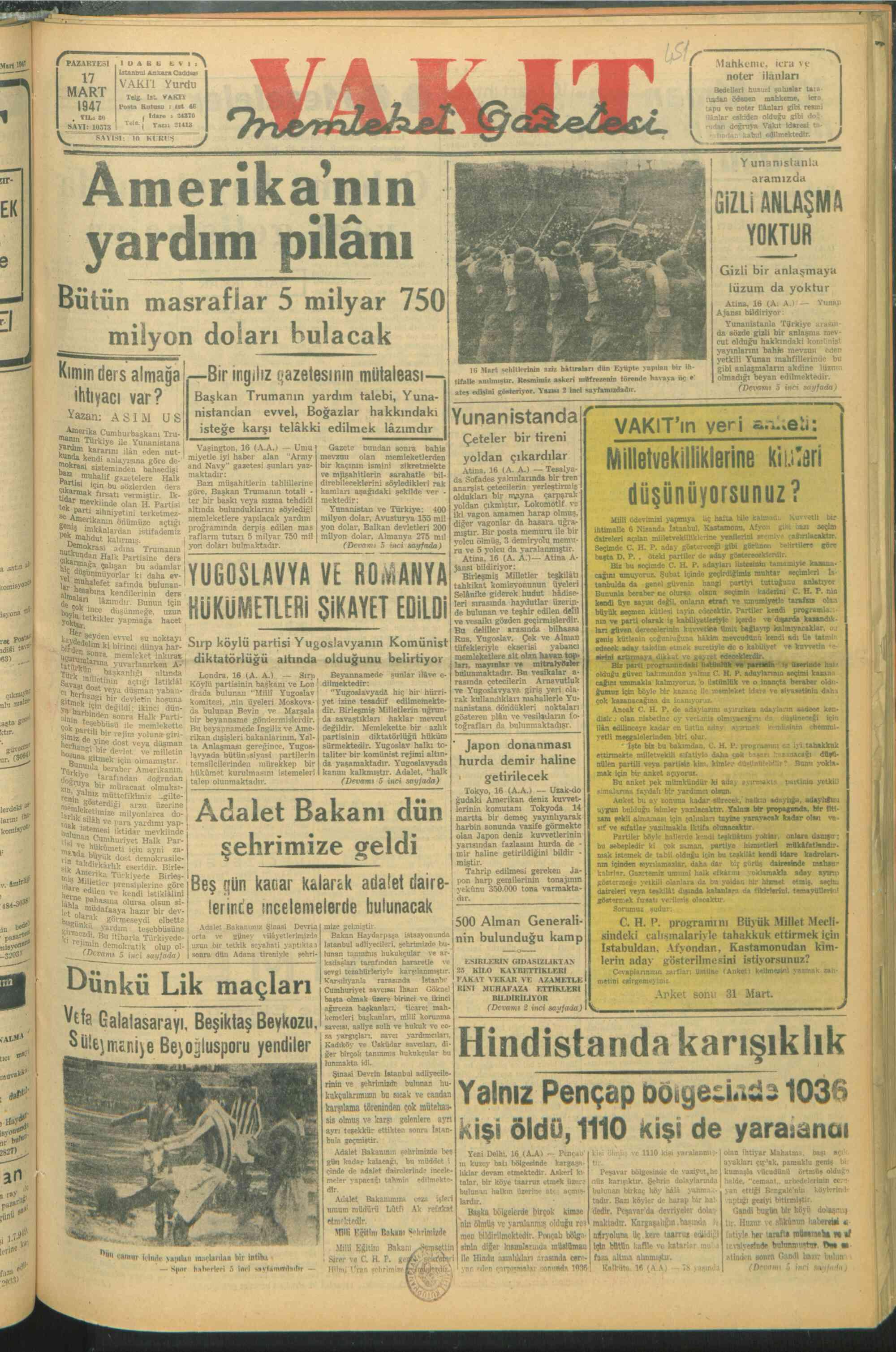 17 Mart 1947 Tarihli Vakit Gazetesi Sayfa 1