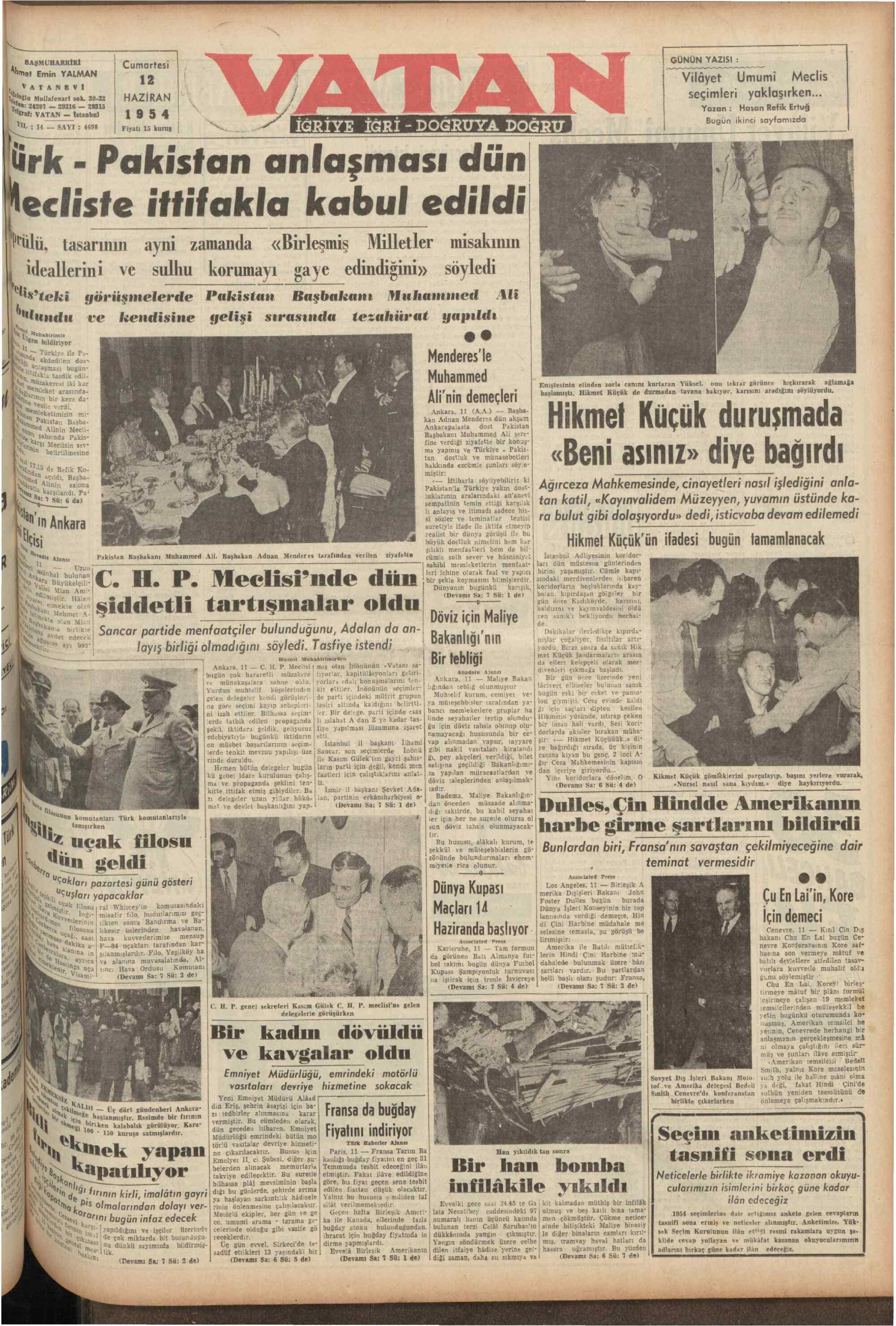 12 Haziran 1954 tarihli Vatan Gazetesi Sayfa 1