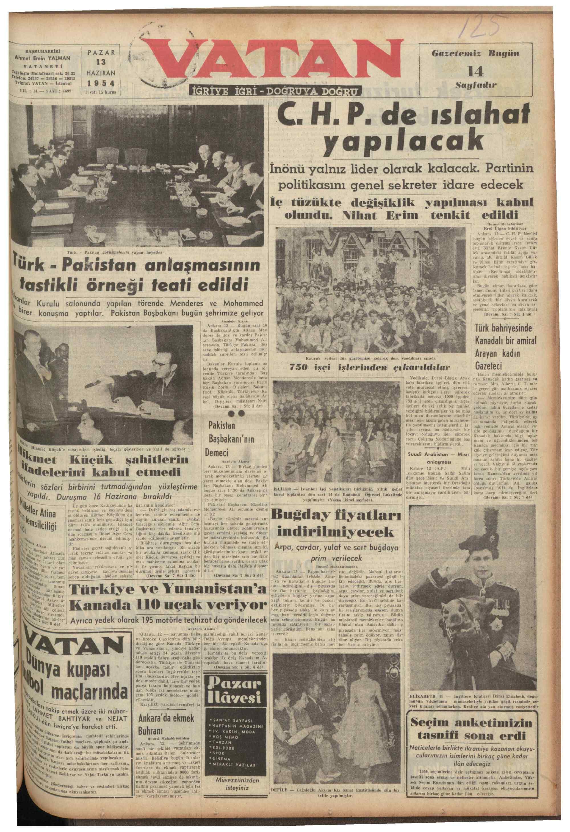 13 Haziran 1954 tarihli Vatan Gazetesi Sayfa 1