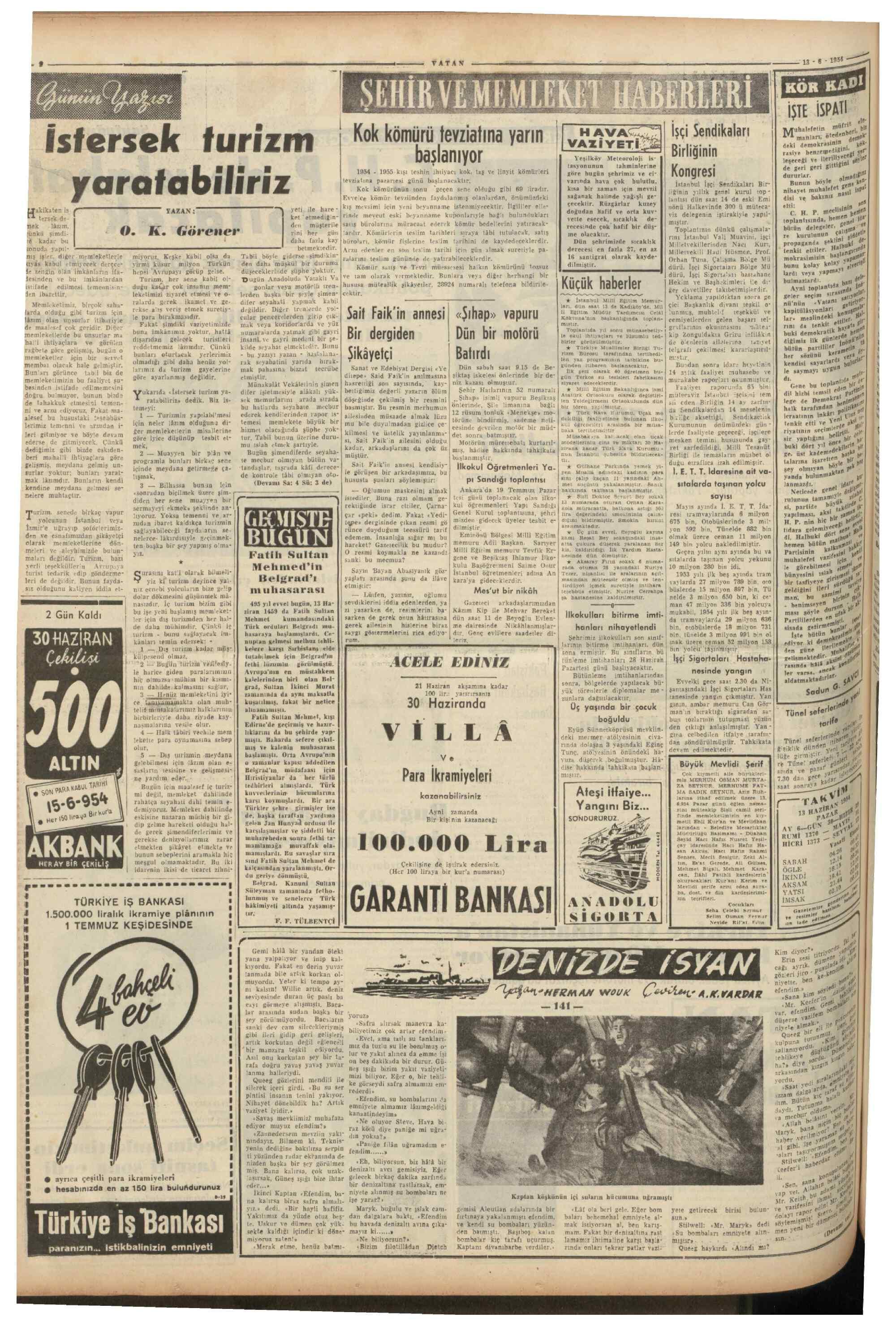 13 Haziran 1954 tarihli Vatan Gazetesi Sayfa 2