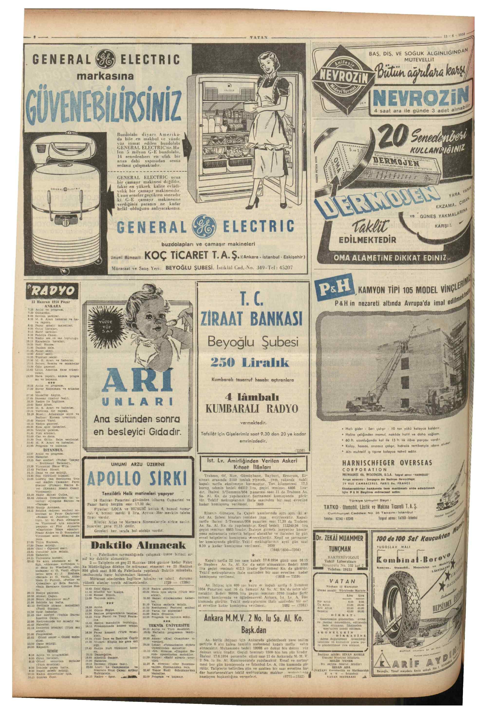 13 Haziran 1954 tarihli Vatan Gazetesi Sayfa 8