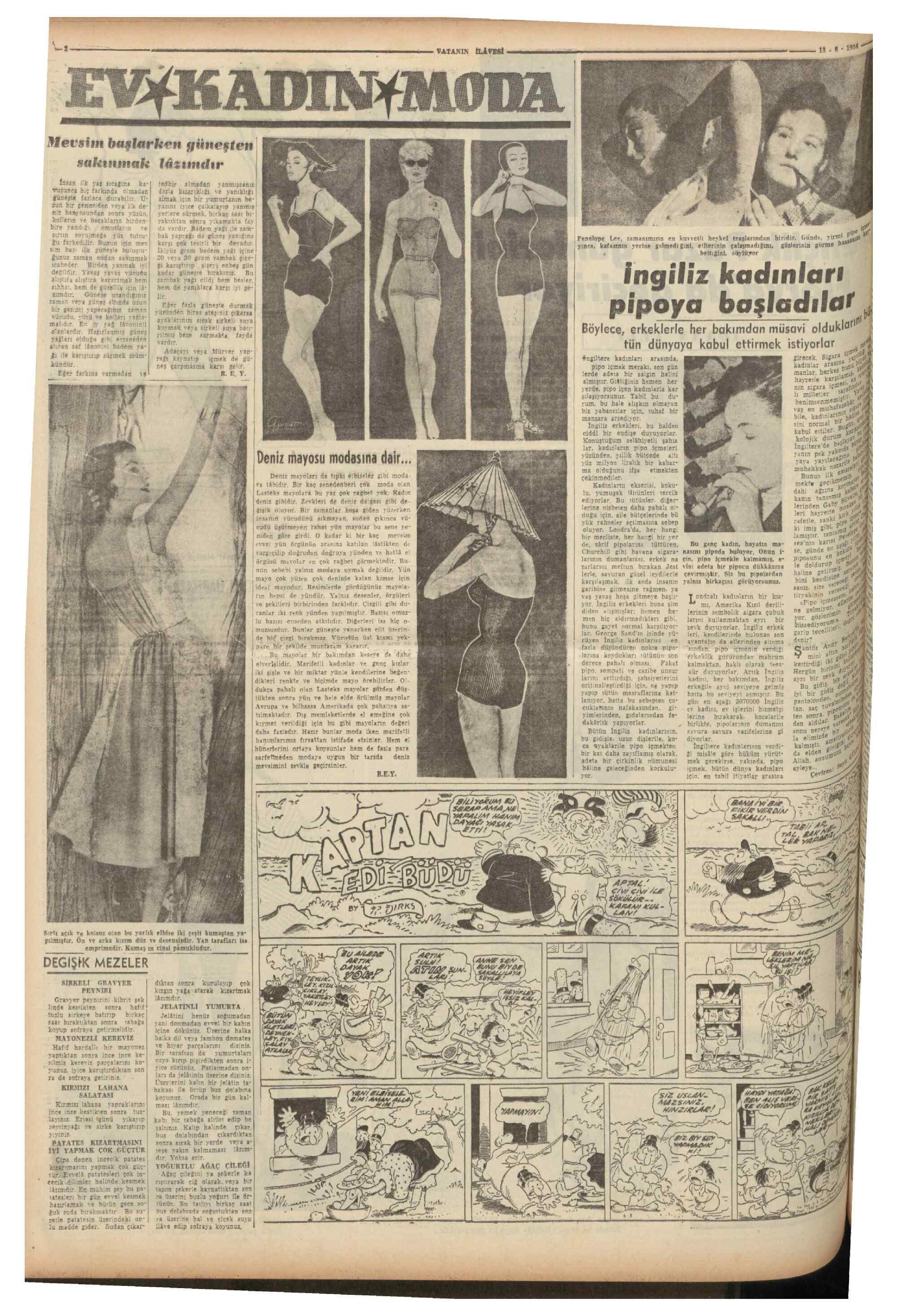 13 Haziran 1954 tarihli Vatan Gazetesi Sayfa 10