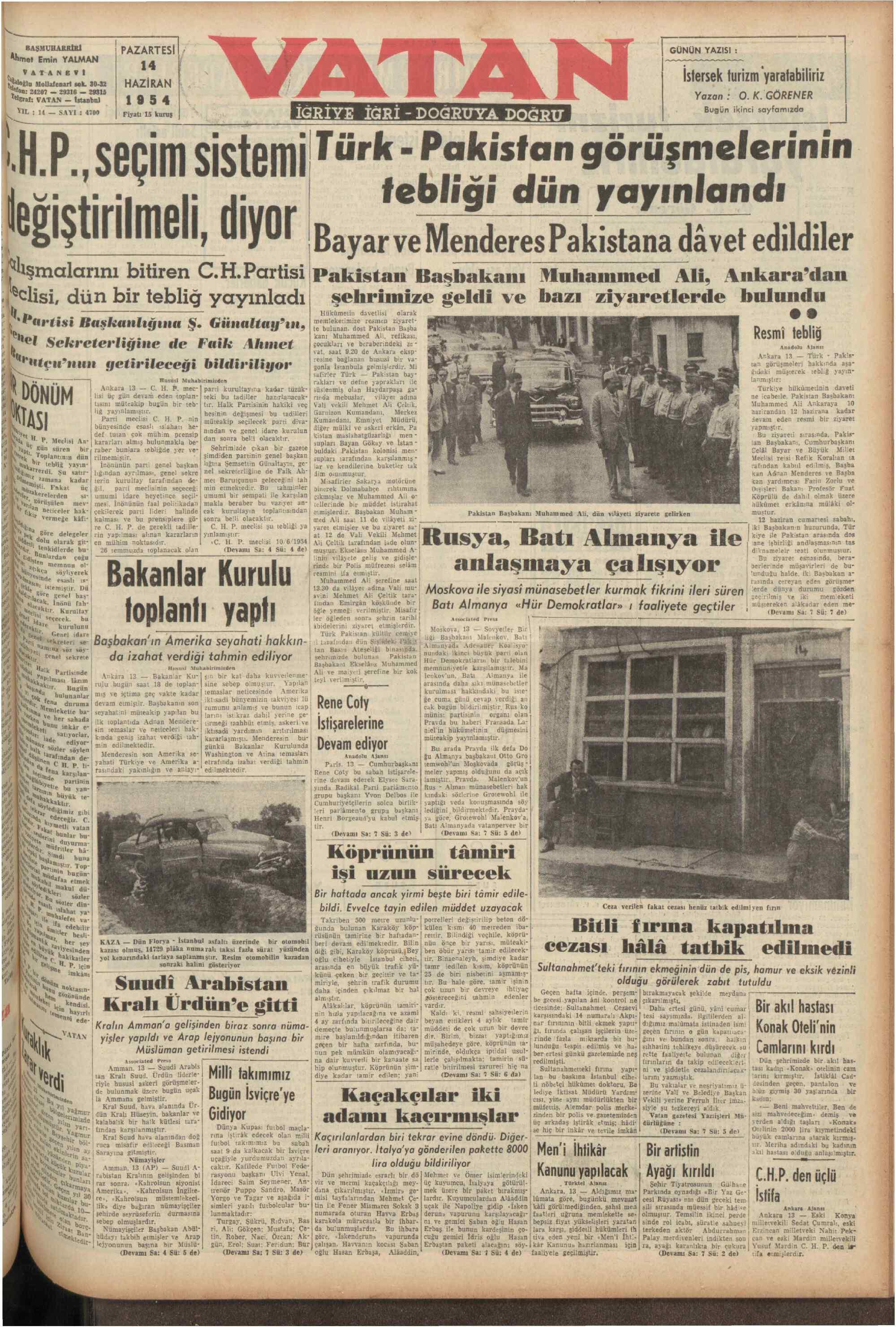 14 Haziran 1954 tarihli Vatan Gazetesi Sayfa 1