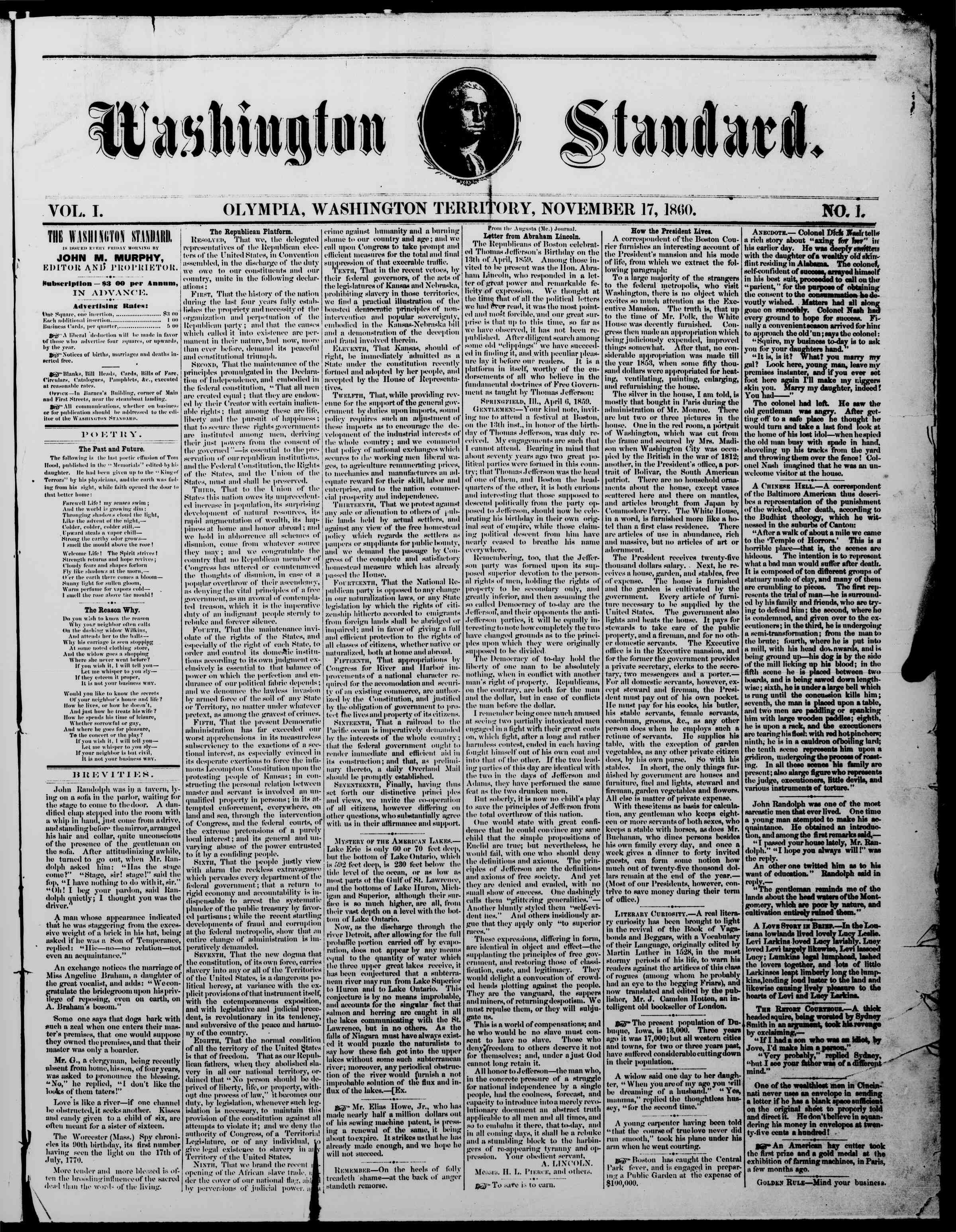 Newspaper of The Washington Standard dated November 17, 1860 Page 1