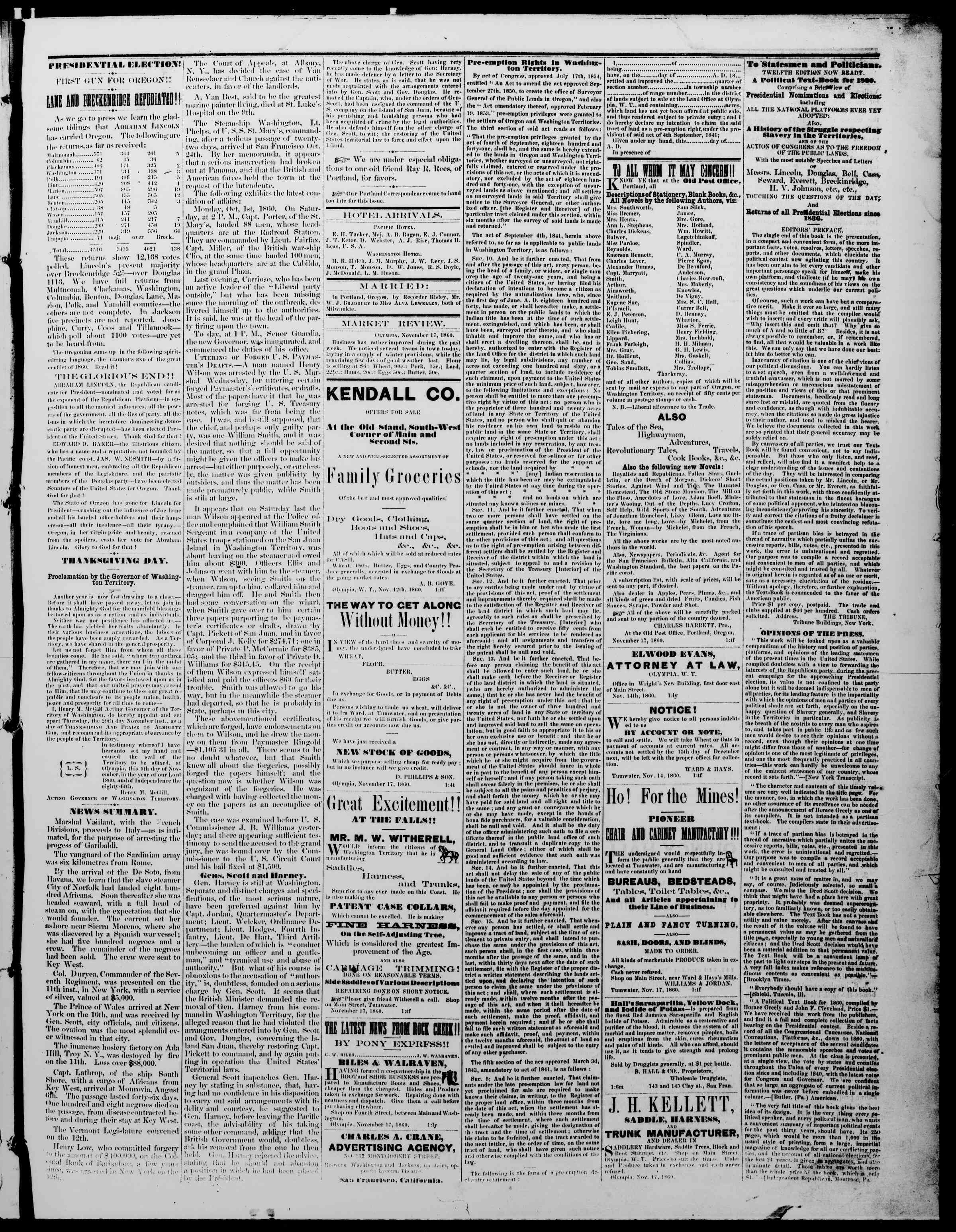 Newspaper of The Washington Standard dated November 17, 1860 Page 3
