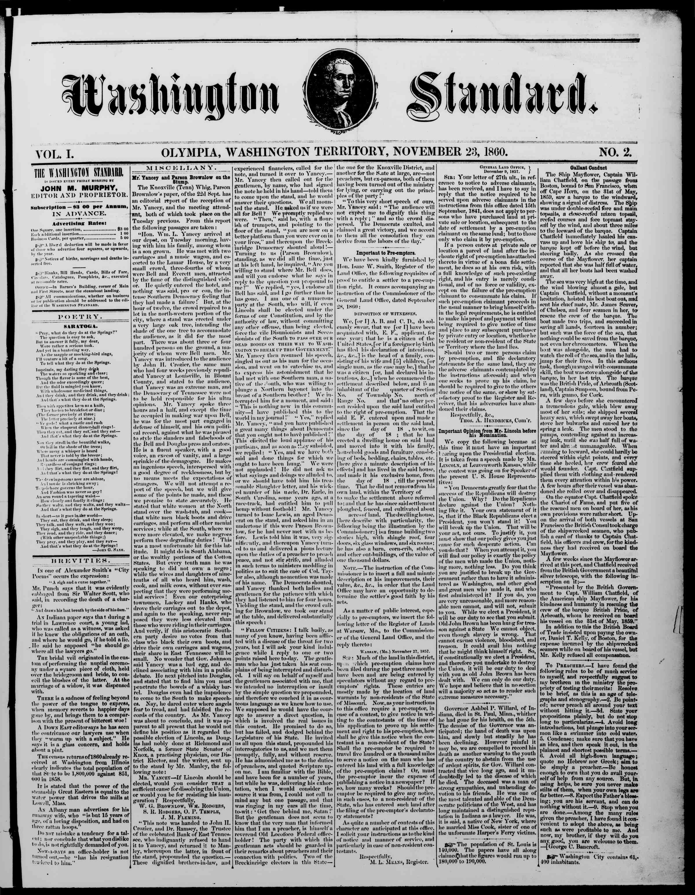 Newspaper of The Washington Standard dated November 23, 1860 Page 1