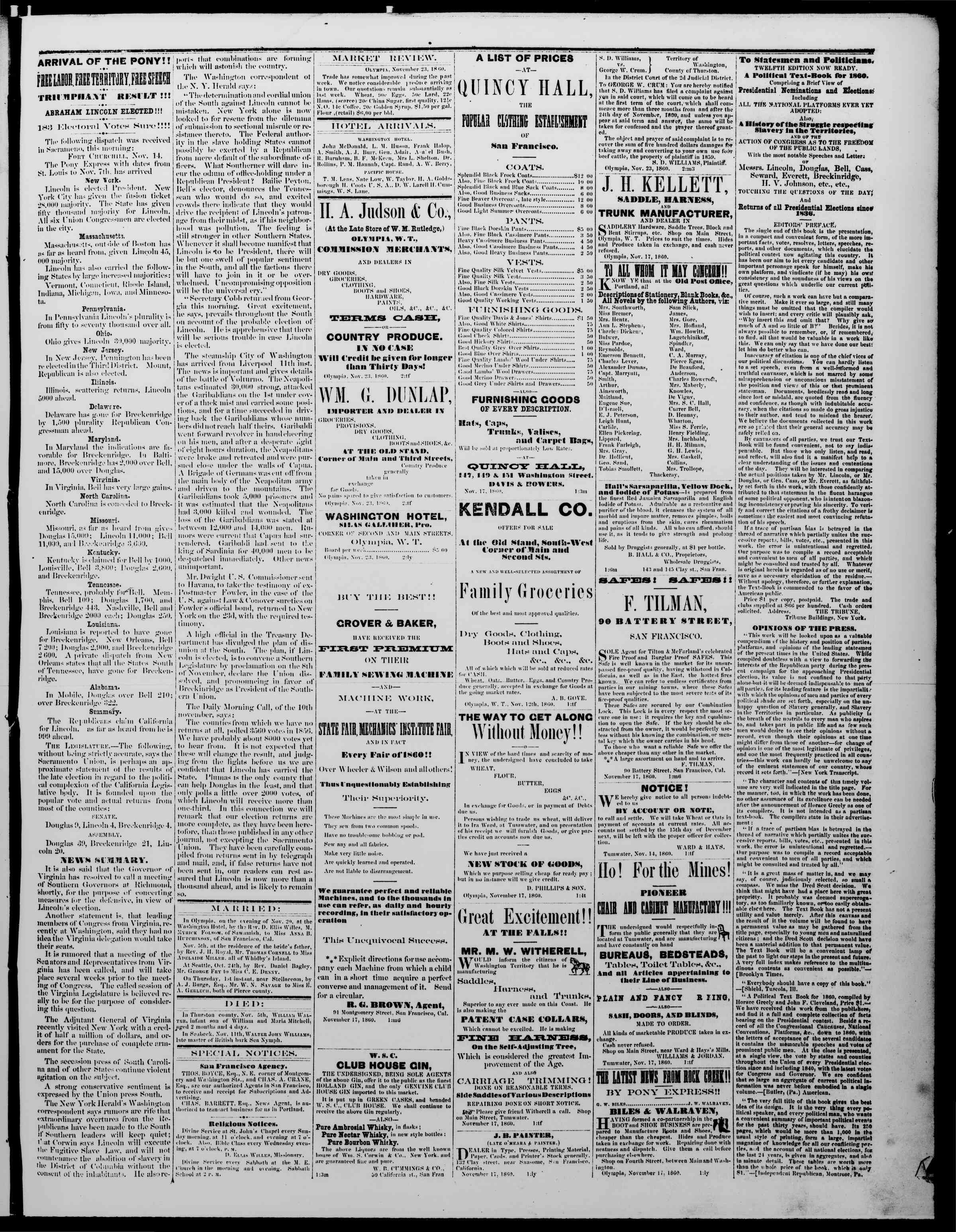 Newspaper of The Washington Standard dated November 23, 1860 Page 3