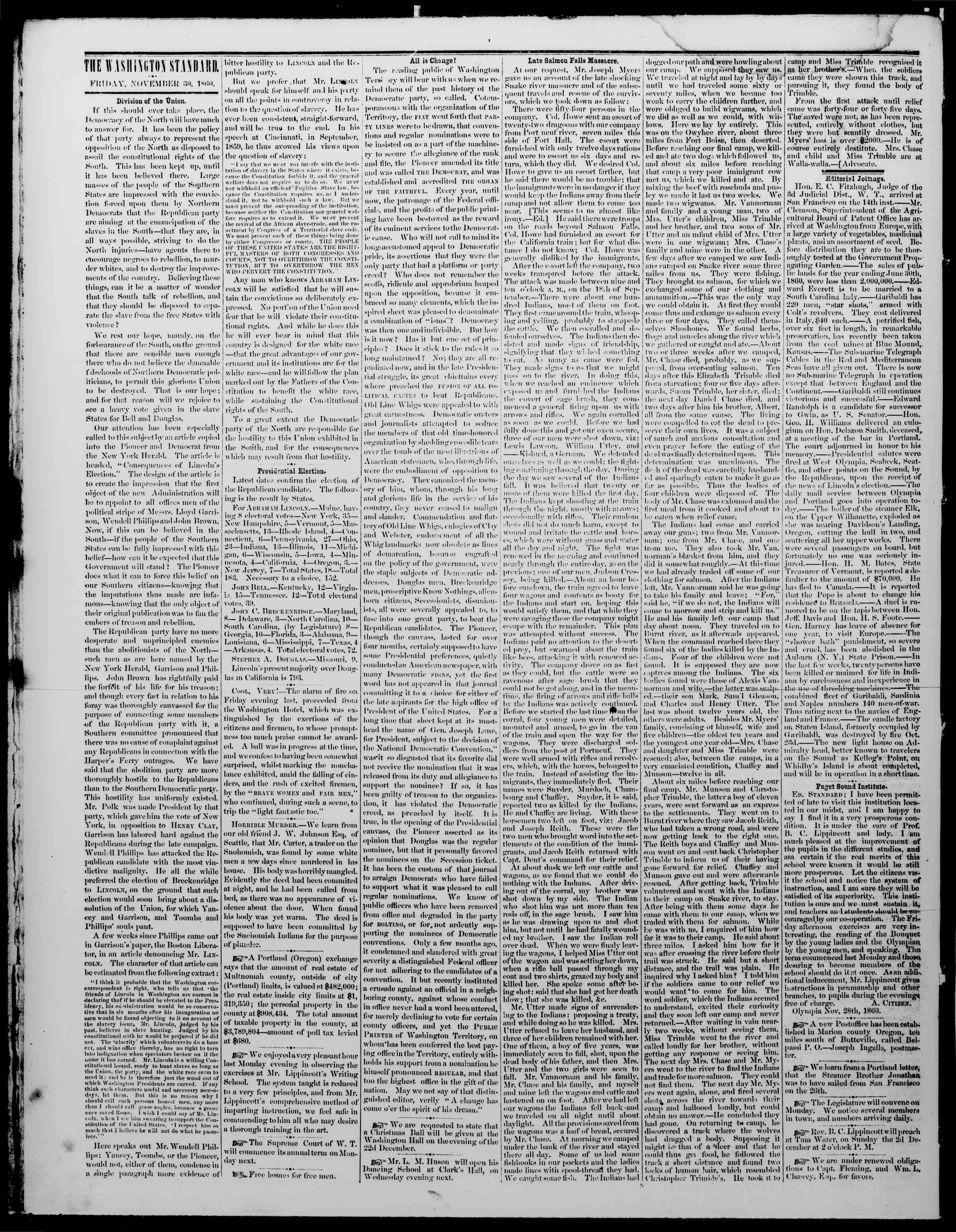 Newspaper of The Washington Standard dated November 30, 1860 Page 2