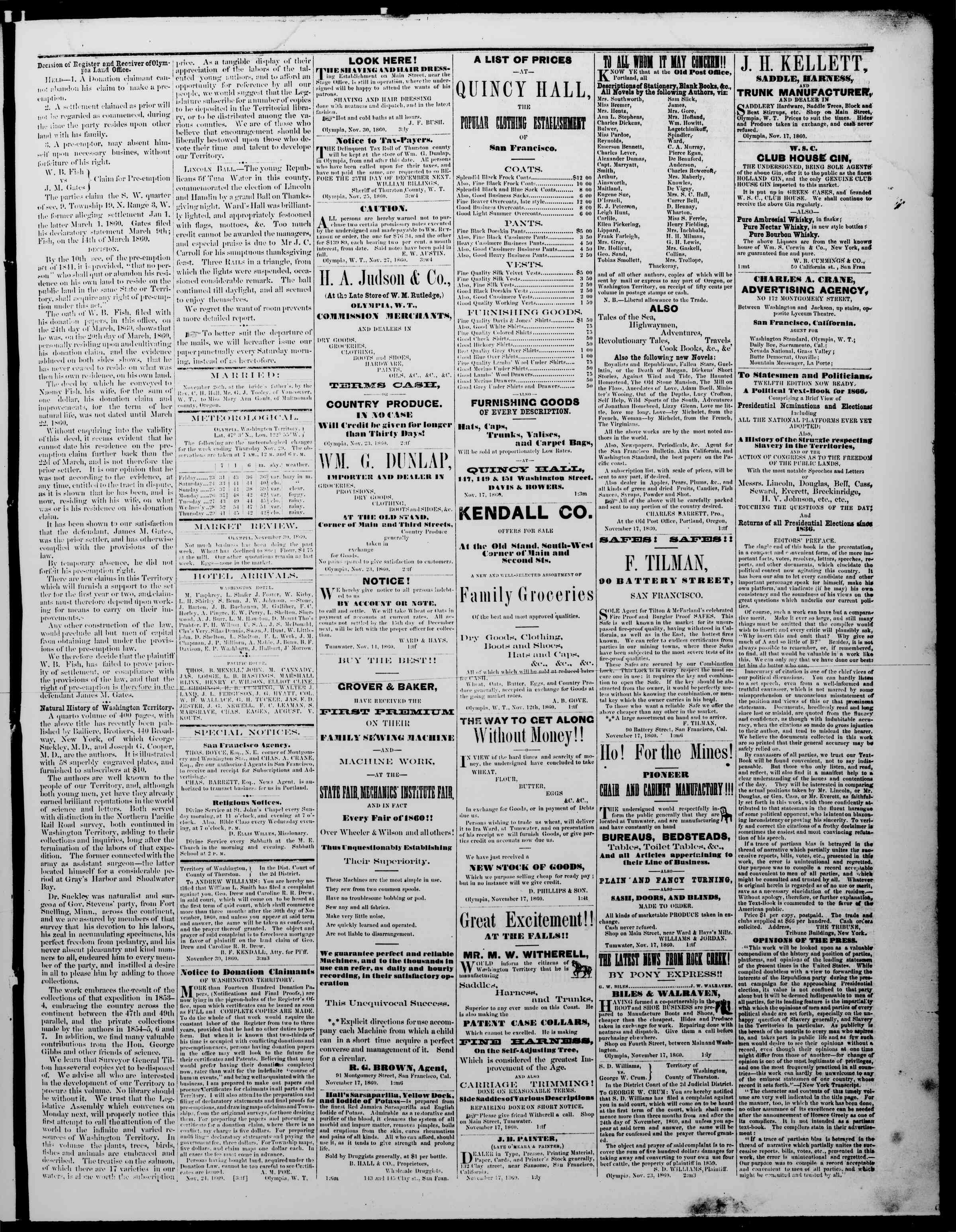Newspaper of The Washington Standard dated November 30, 1860 Page 3