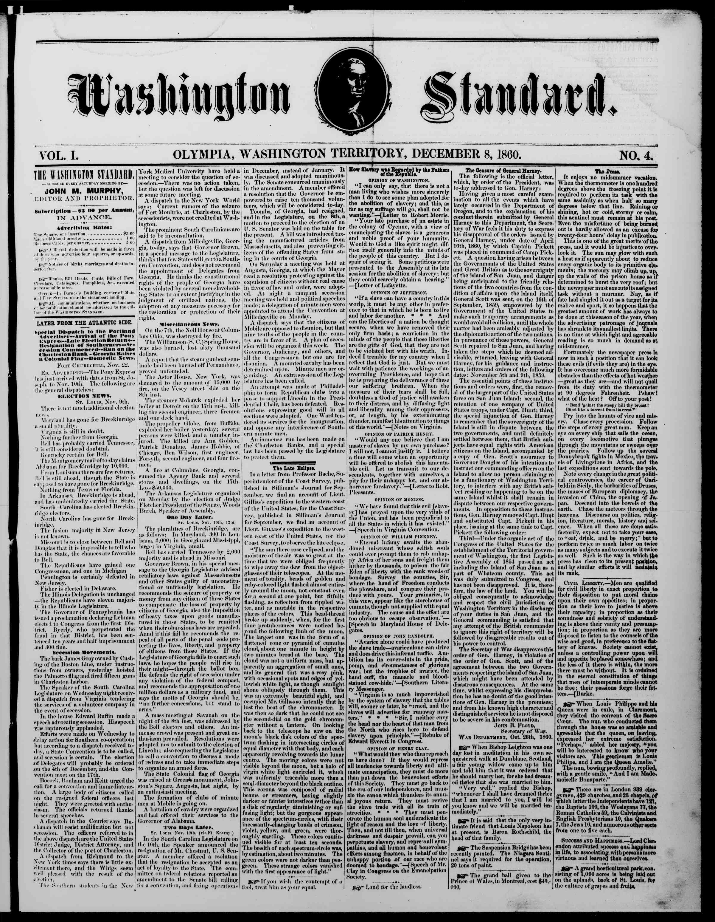 Newspaper of The Washington Standard dated December 8, 1860 Page 1