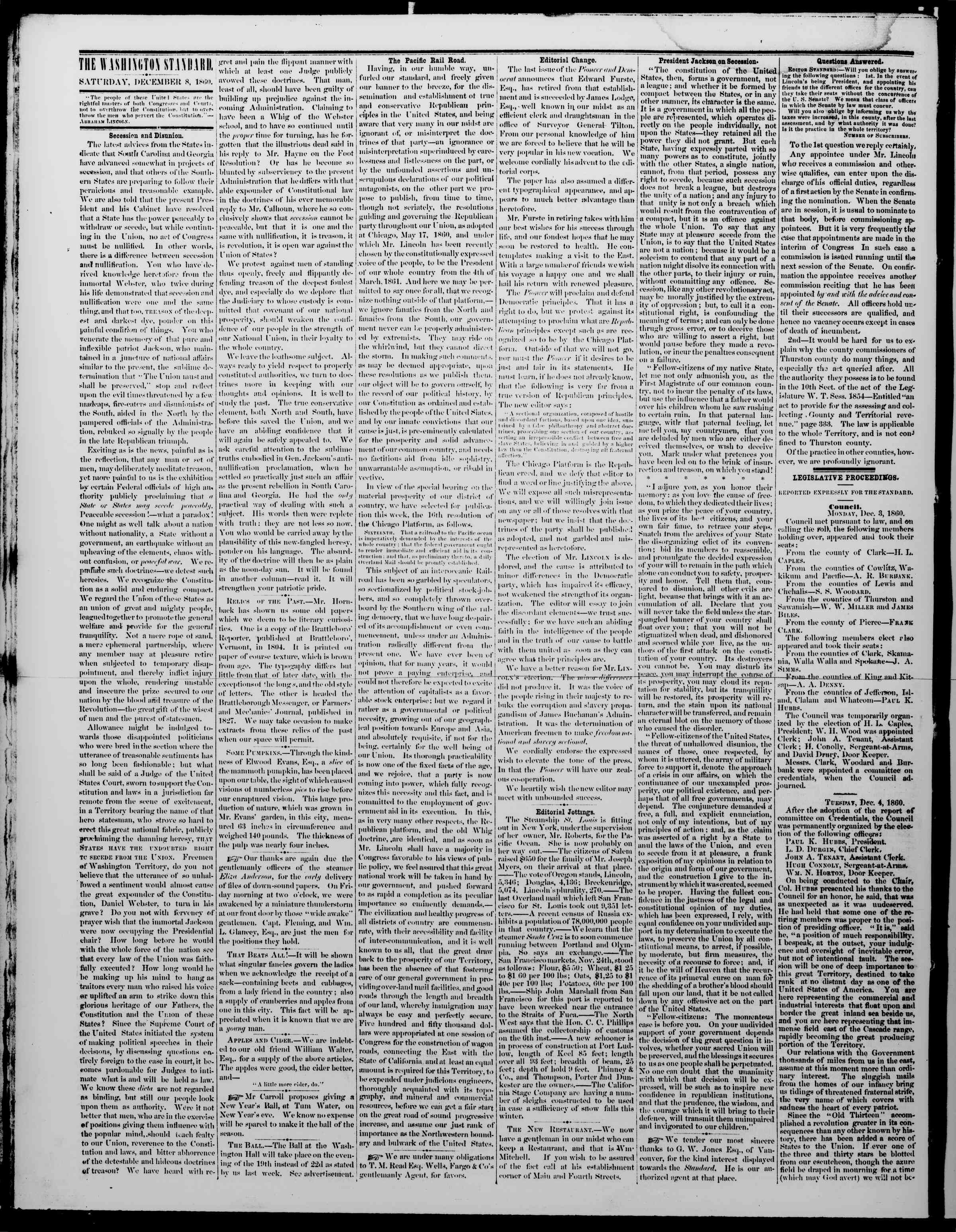 Newspaper of The Washington Standard dated December 8, 1860 Page 2