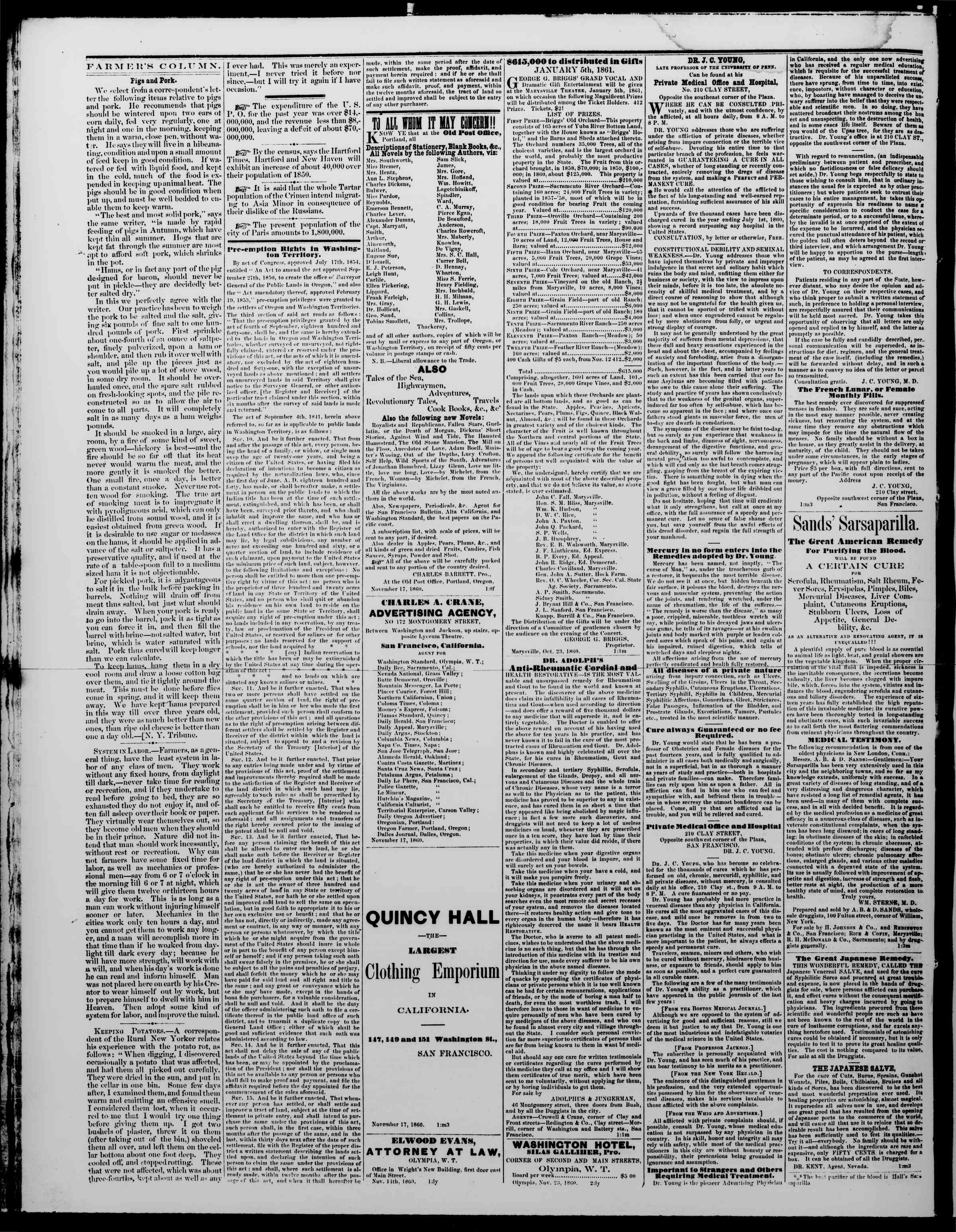 Newspaper of The Washington Standard dated December 8, 1860 Page 4