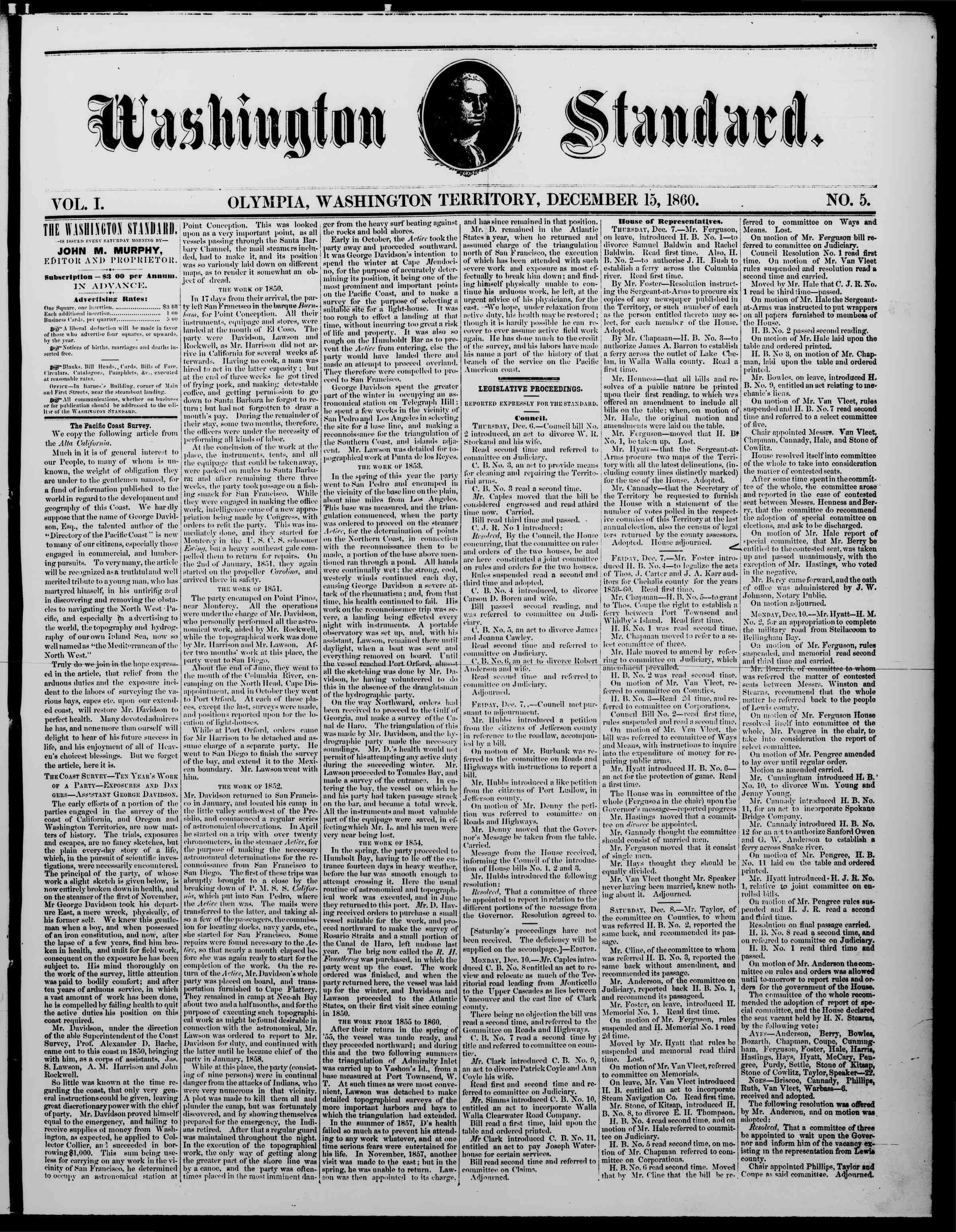 Newspaper of The Washington Standard dated December 15, 1860 Page 1