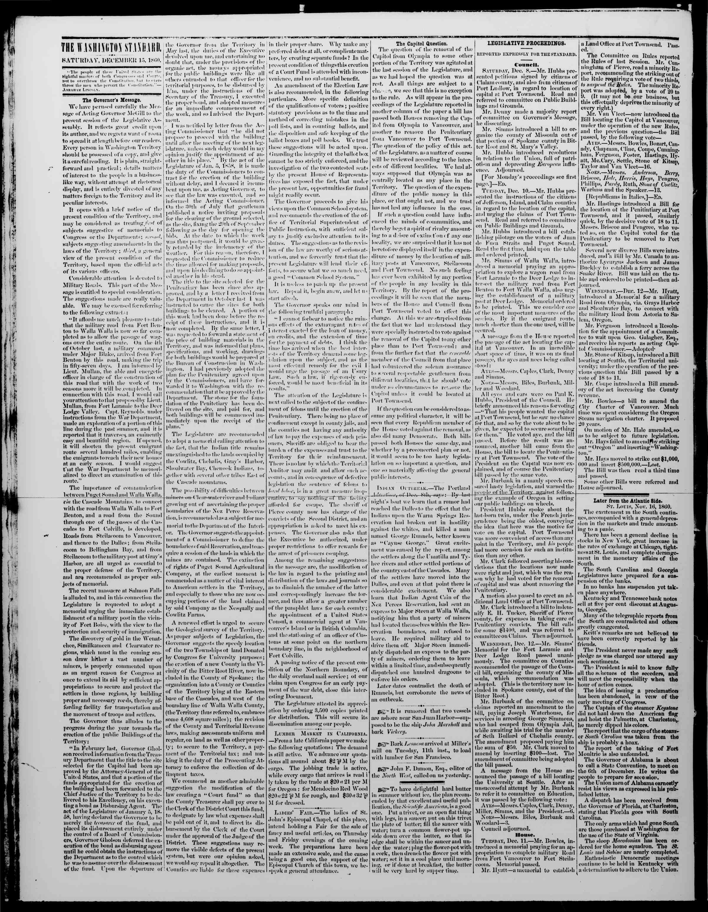 Newspaper of The Washington Standard dated December 15, 1860 Page 2
