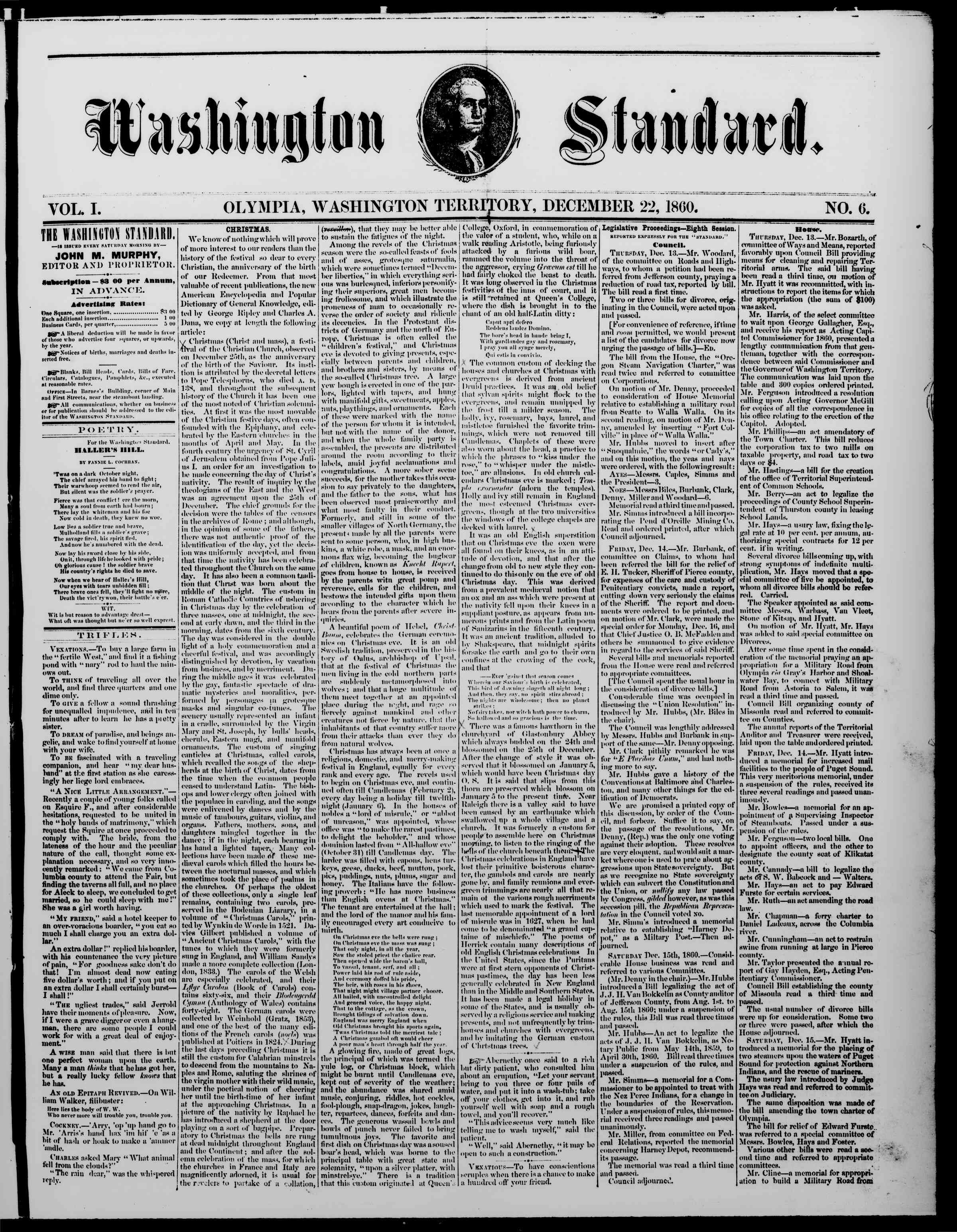 Newspaper of The Washington Standard dated December 22, 1860 Page 1
