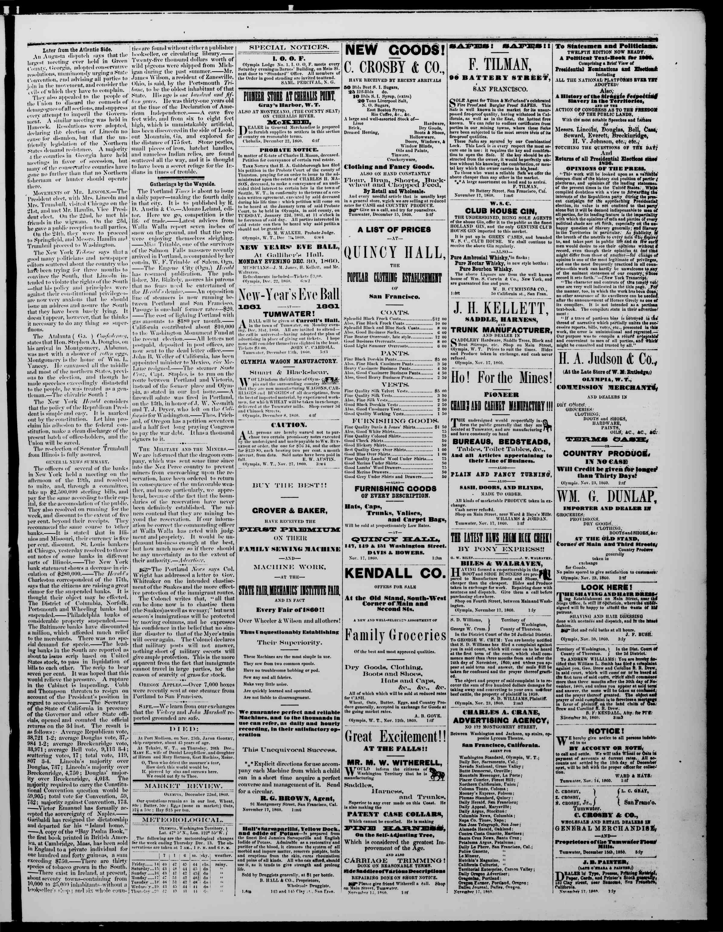 Newspaper of The Washington Standard dated December 22, 1860 Page 3