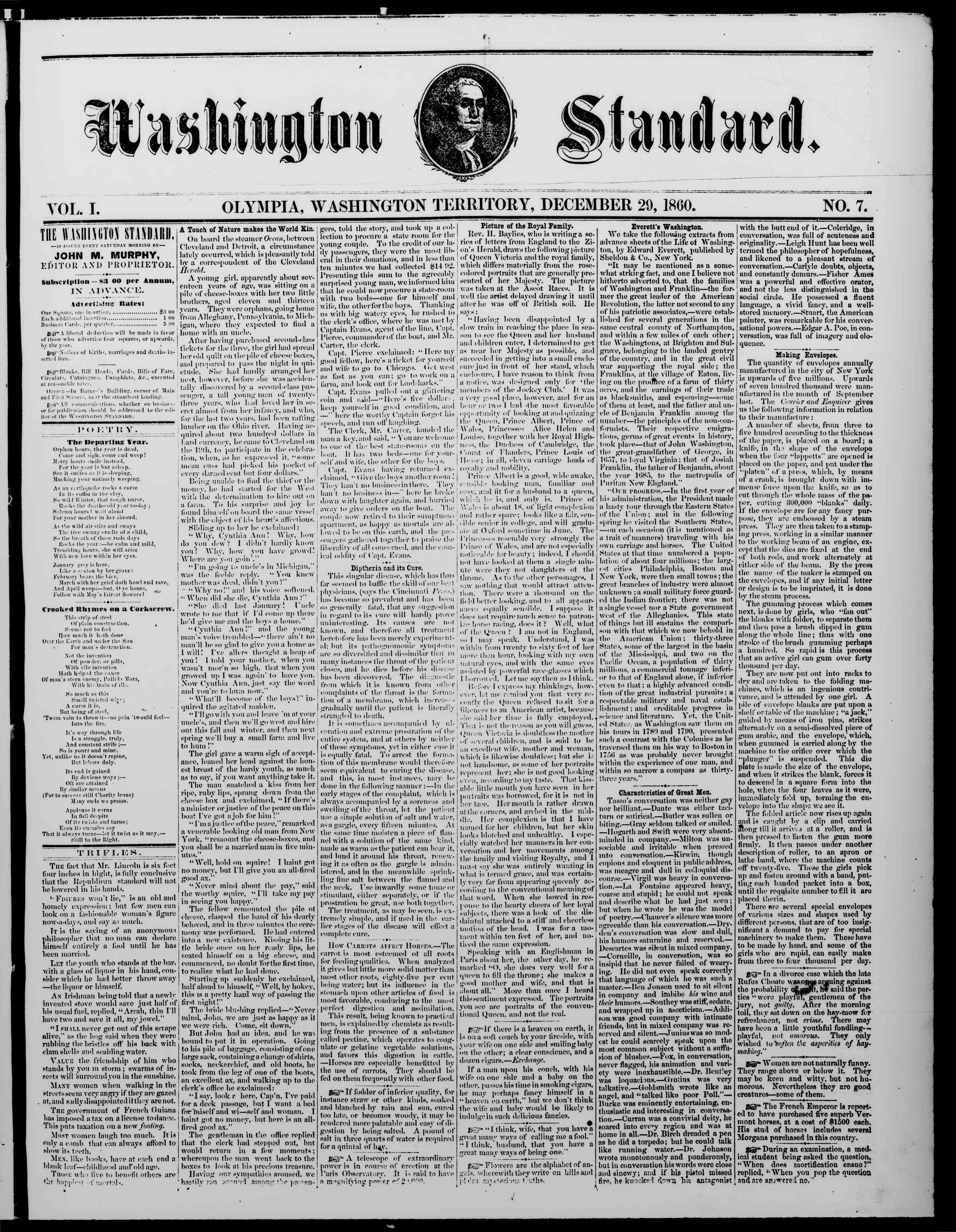 Newspaper of The Washington Standard dated December 29, 1860 Page 1