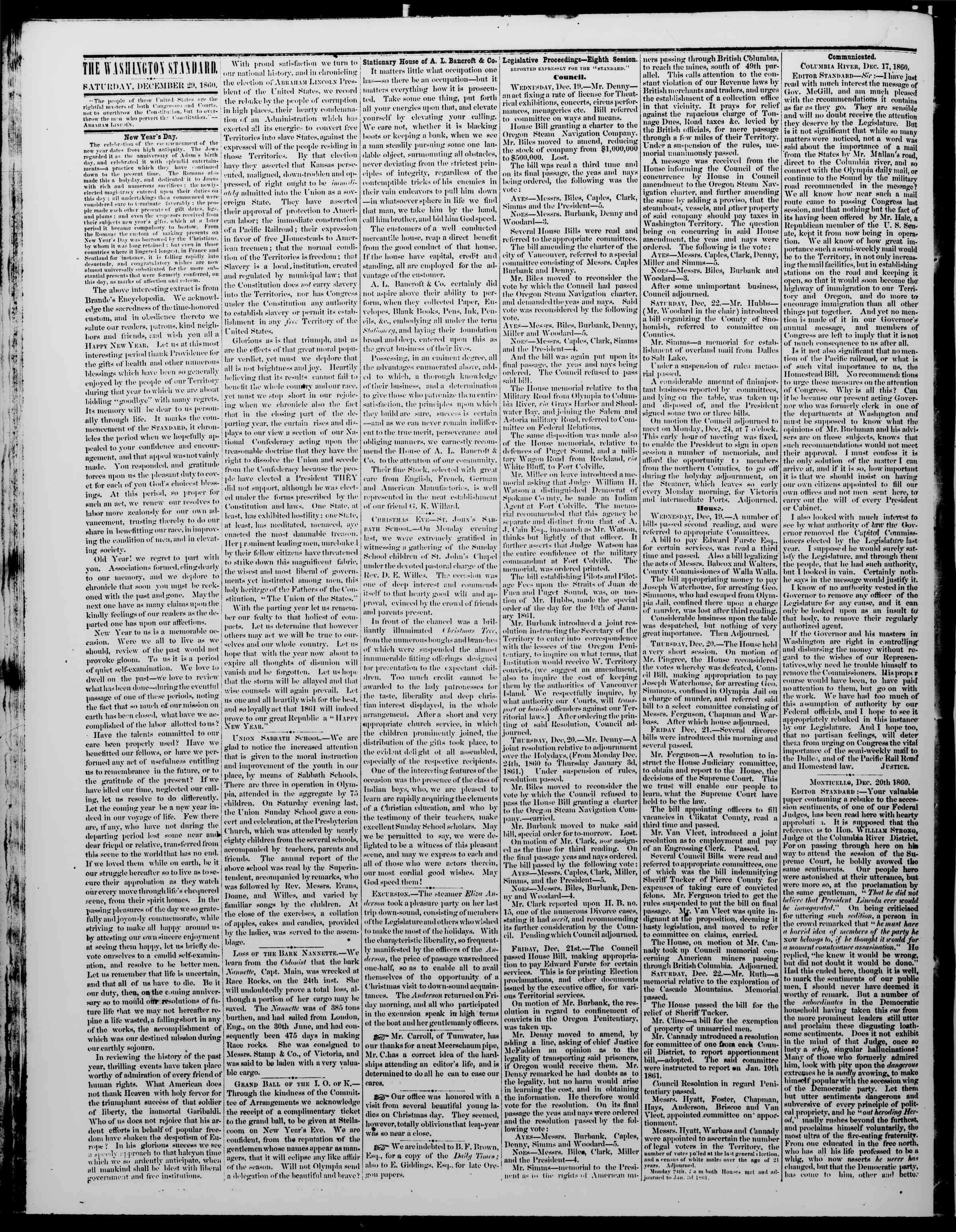 Newspaper of The Washington Standard dated December 29, 1860 Page 2