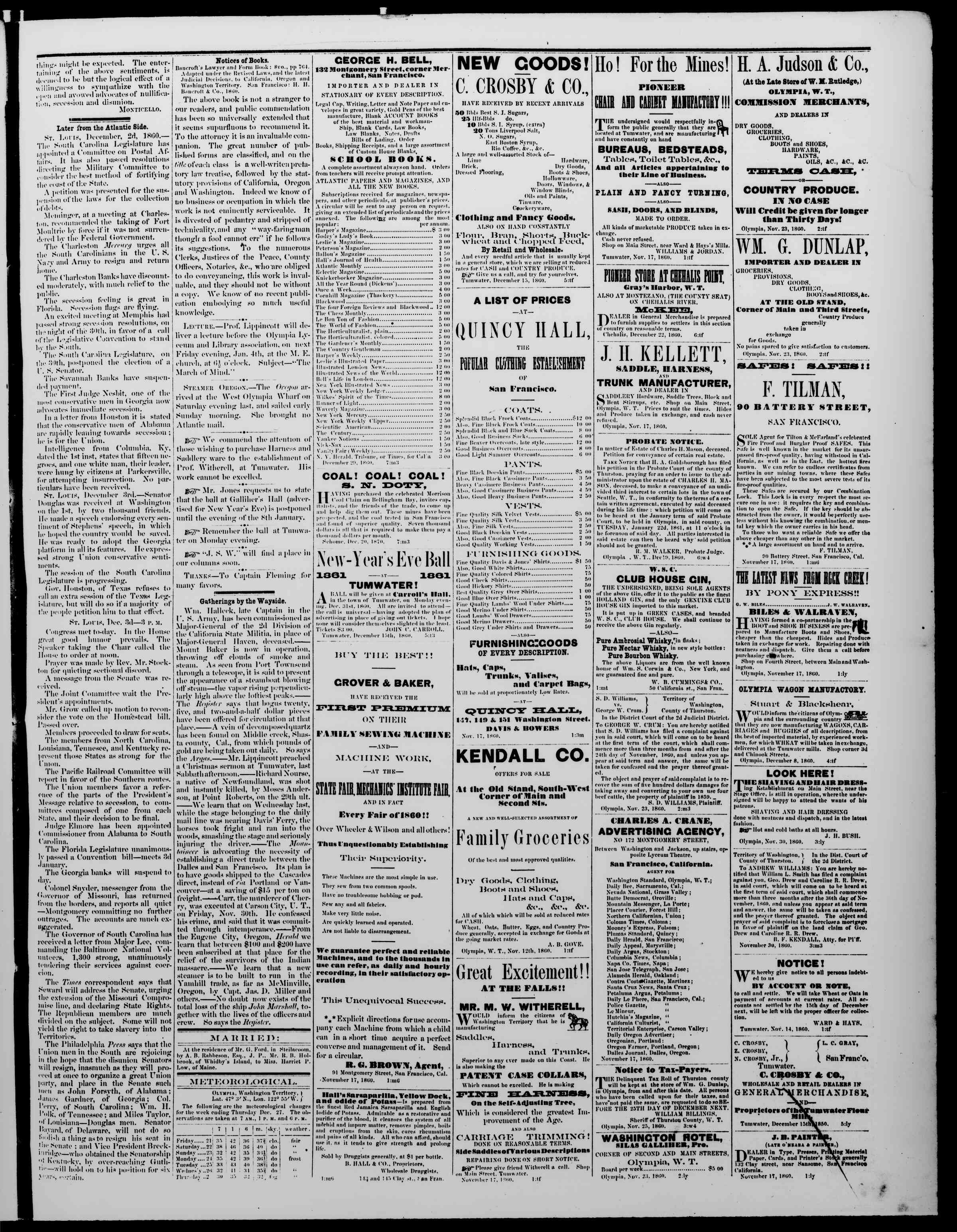 Newspaper of The Washington Standard dated December 29, 1860 Page 3