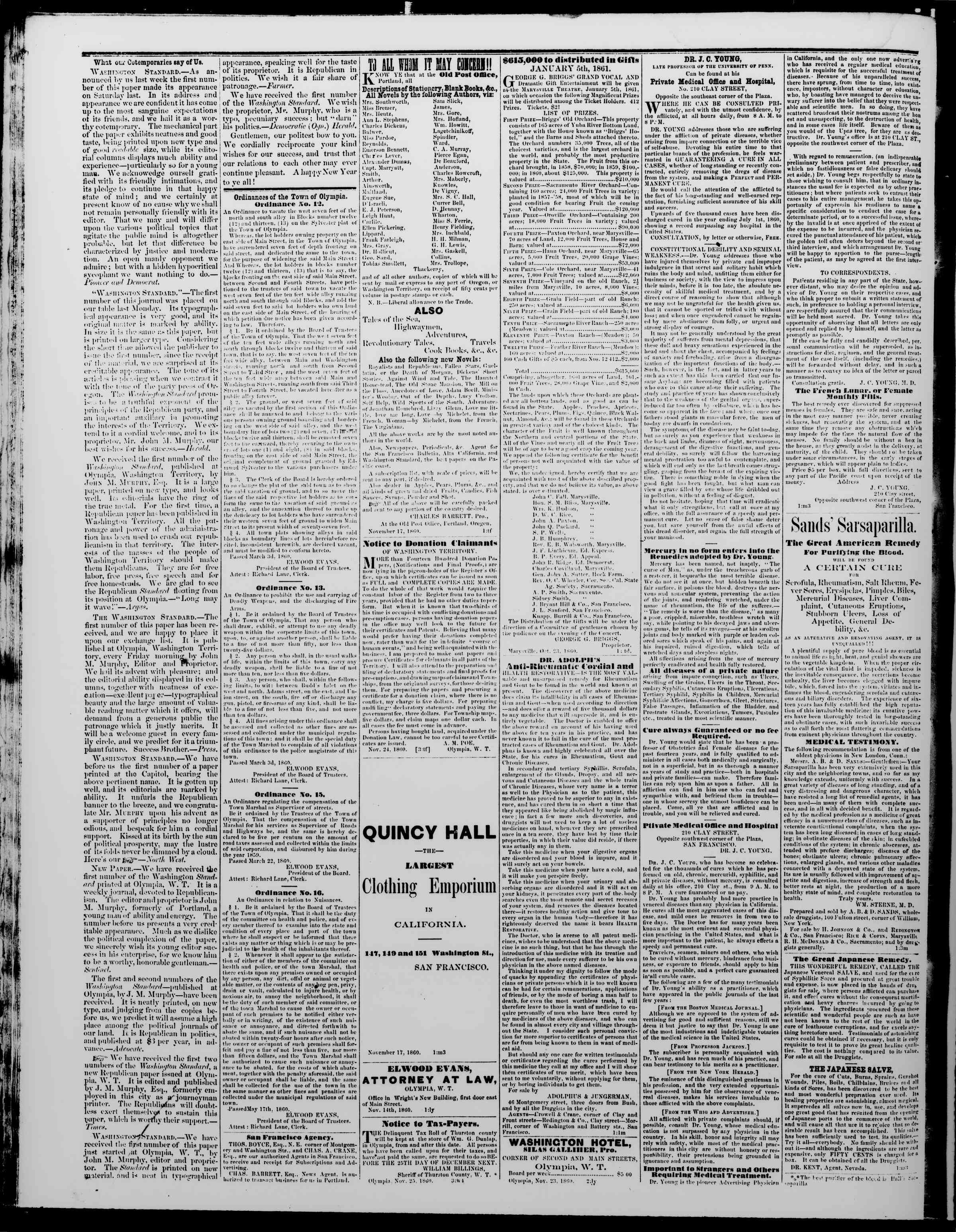 Newspaper of The Washington Standard dated December 29, 1860 Page 4