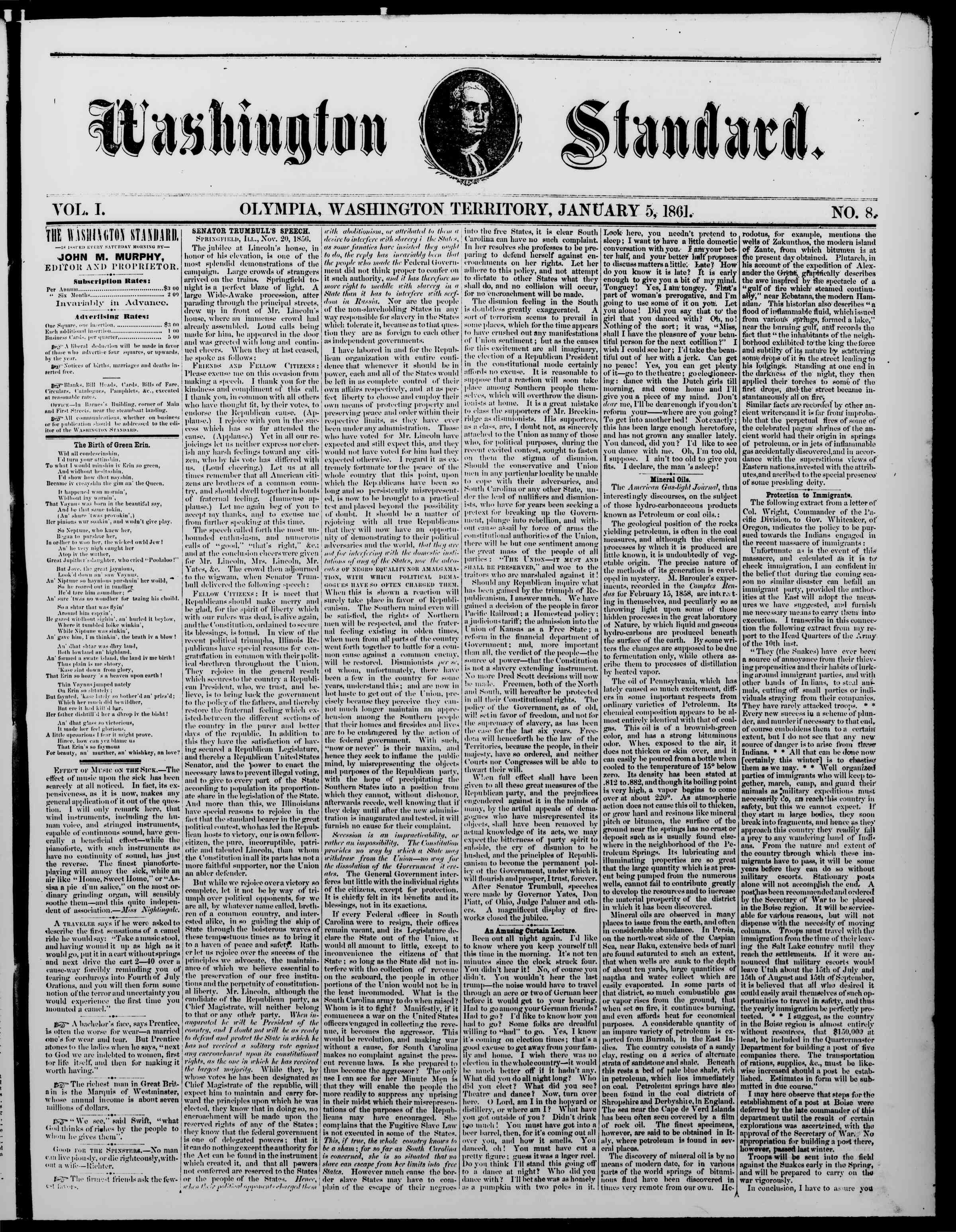 Newspaper of The Washington Standard dated January 5, 1861 Page 1